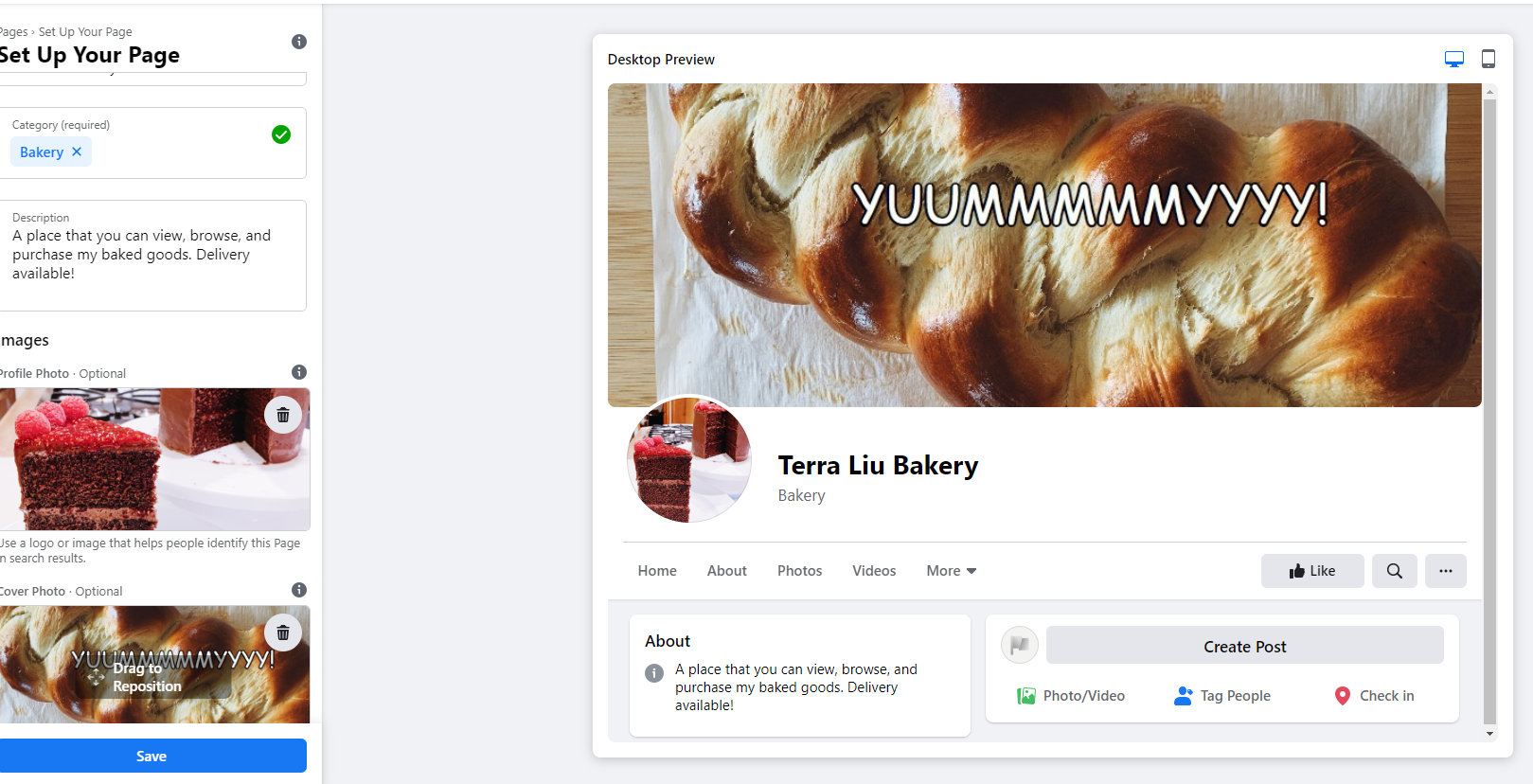 A screenshot of a completed, decorated Facebook Business page.