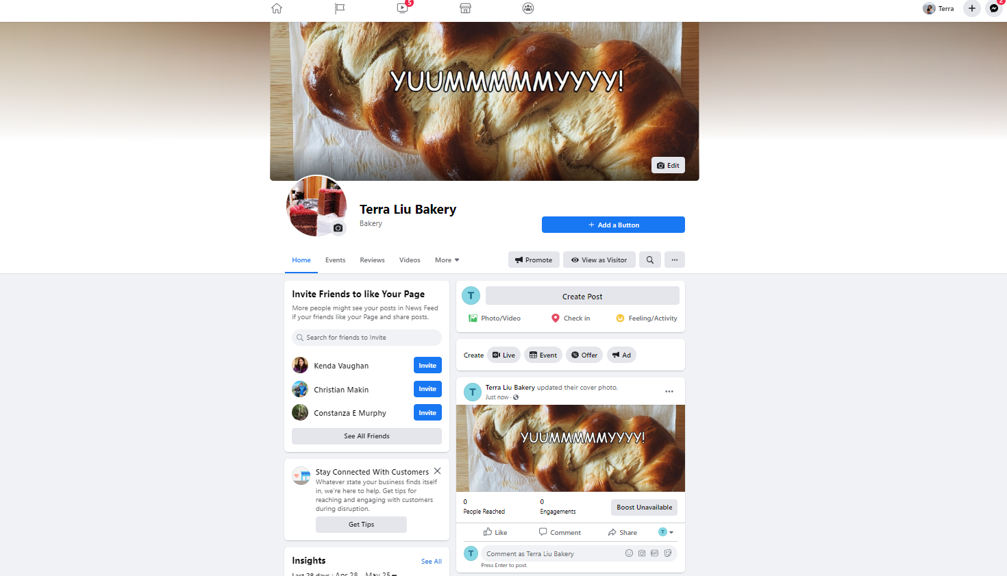 A screenshot of the final form of a Facebook Business page.