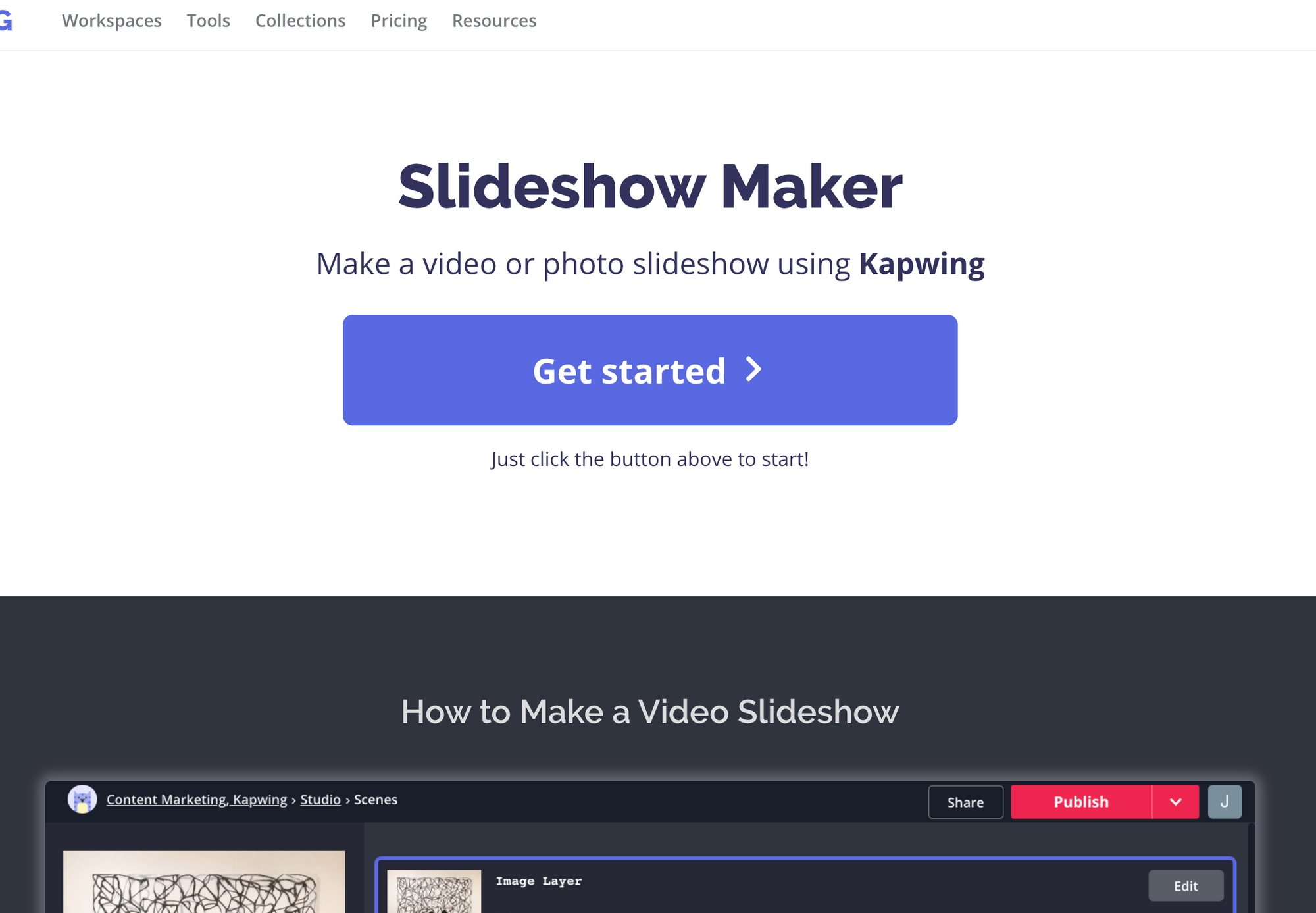 Slideshow maker homepage