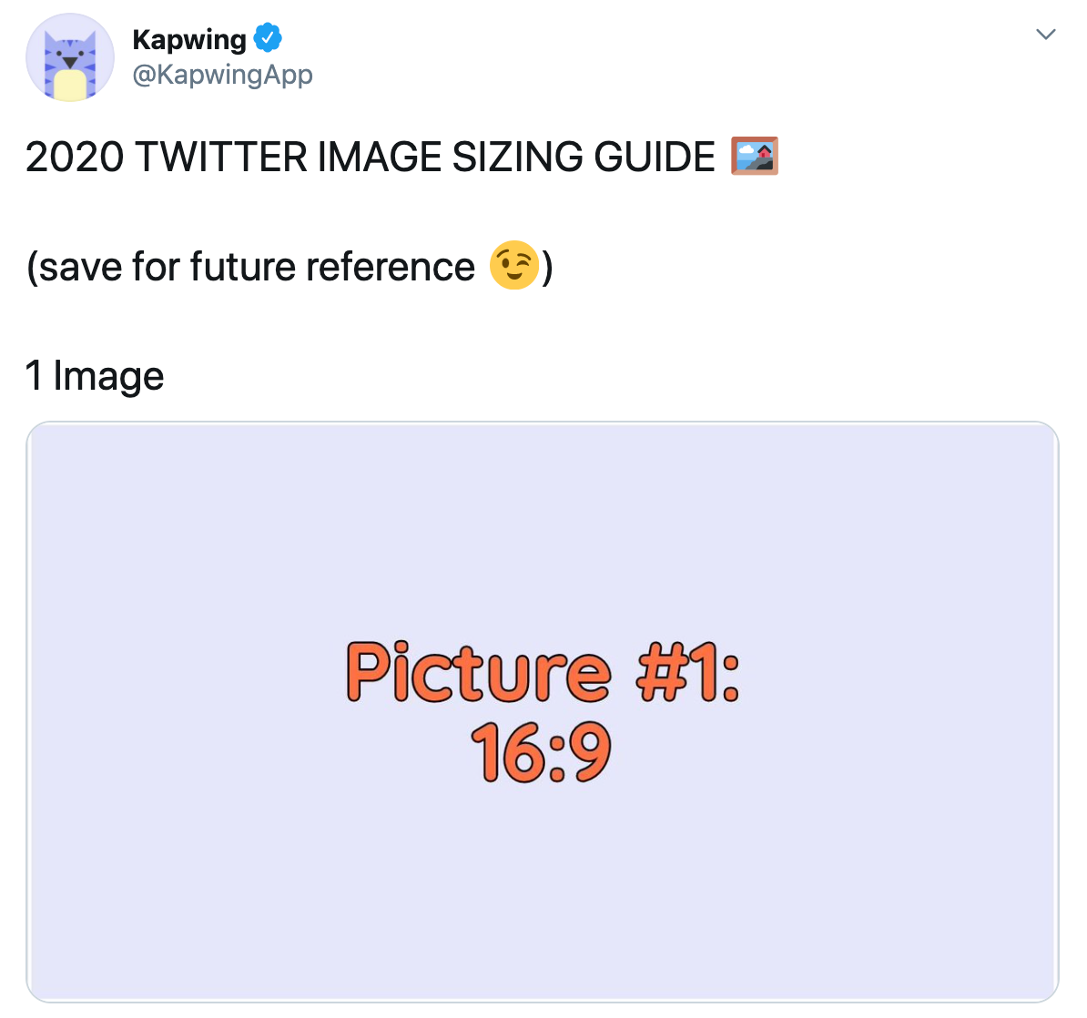 A screenshot showing how to format pictures for single image Twitter posts.