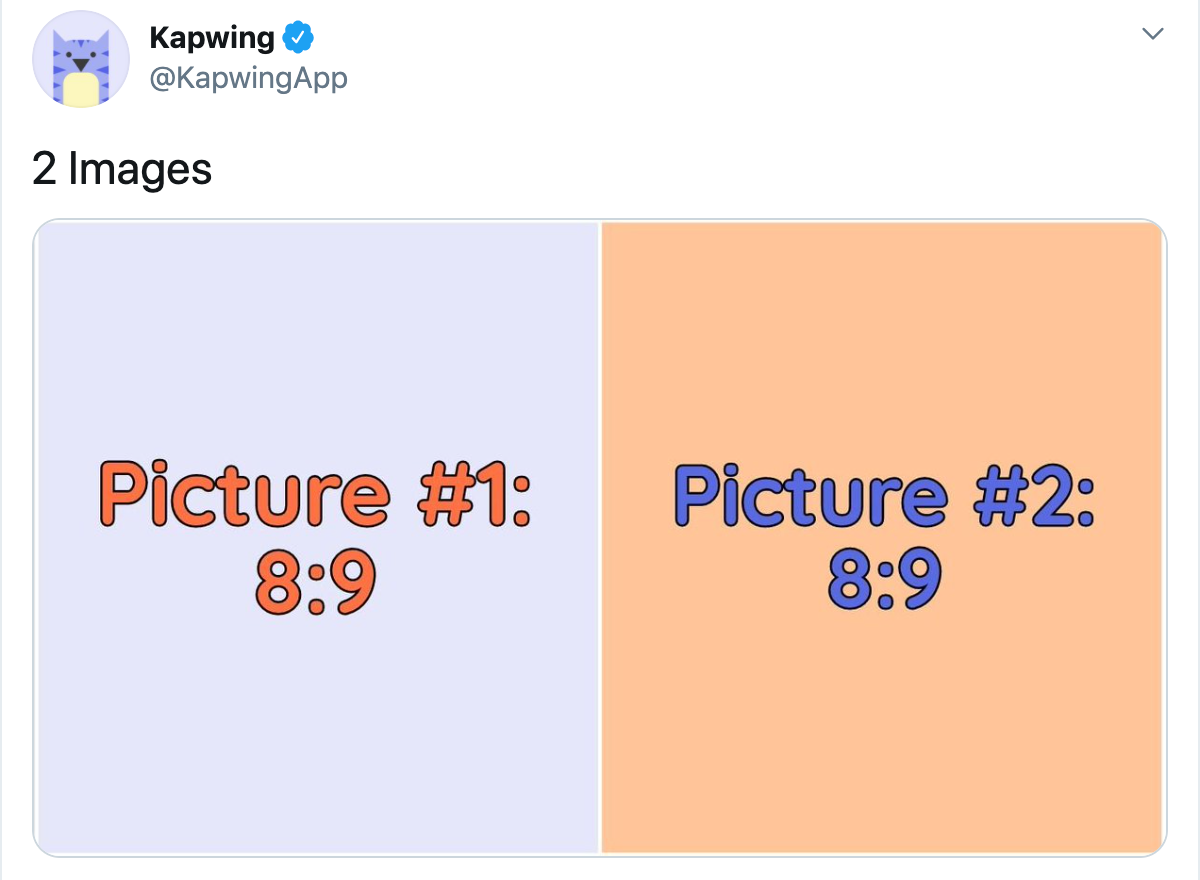 A screenshot showing how to format images for Tweets with two pictures.