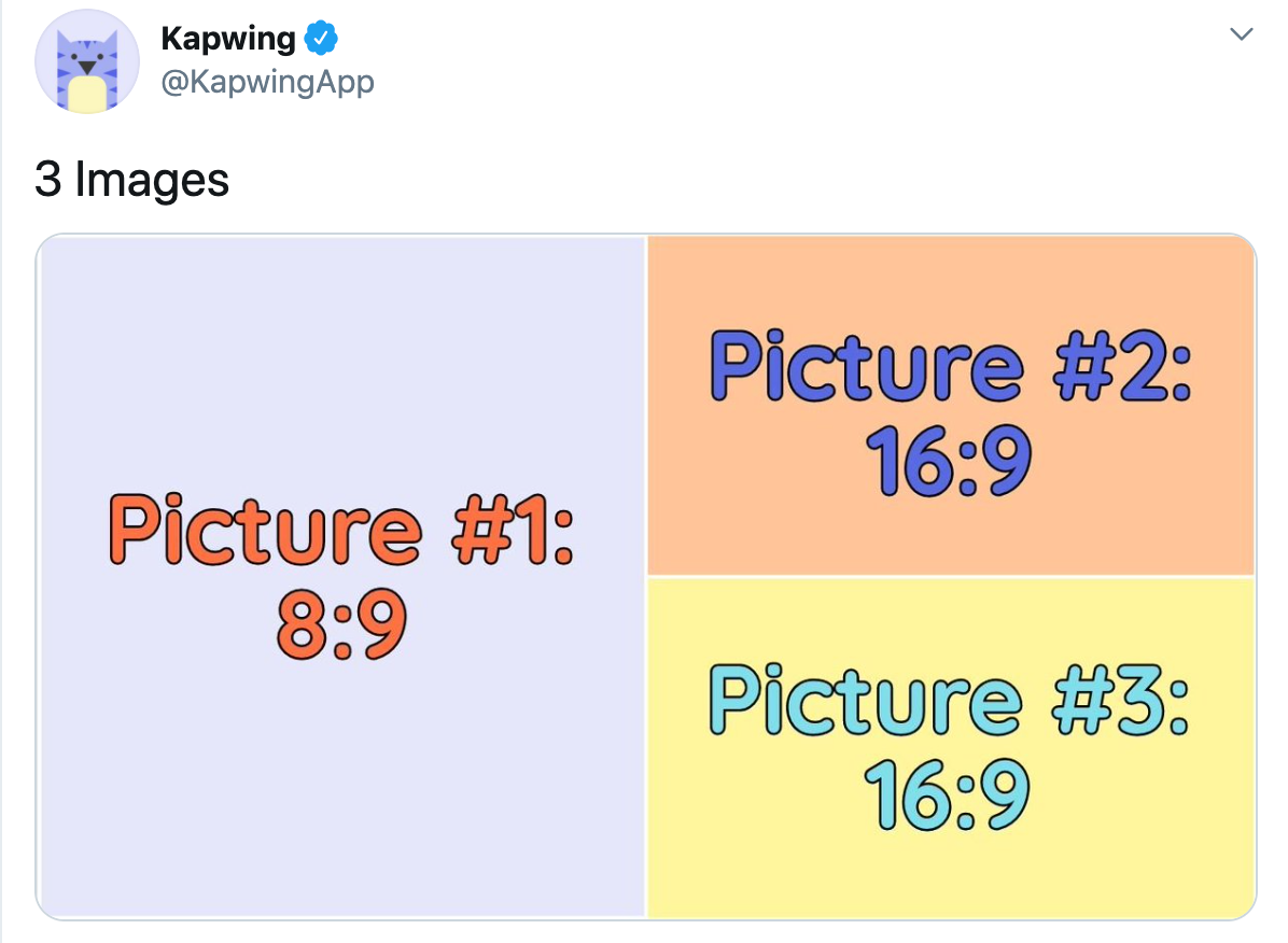 A screenshot showing how to format pictures for Tweets with 3 pictures.