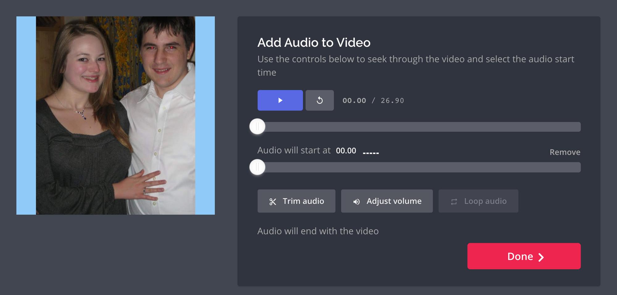 A screenshot of the Kapwing audio editor.