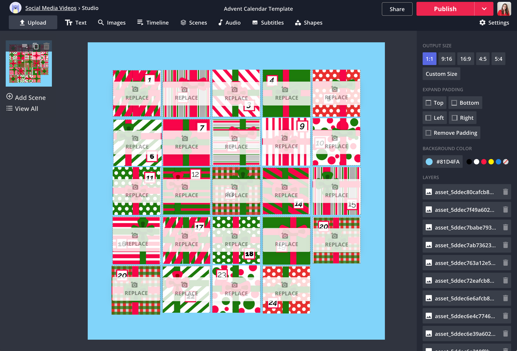 Kapwing's advent calendar template in editor