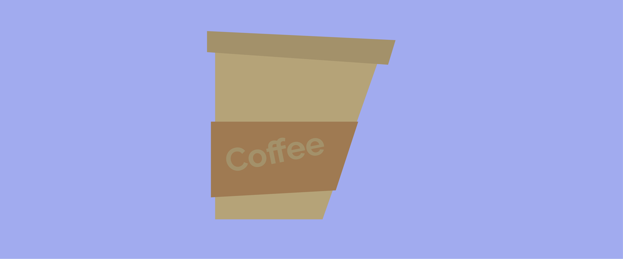A graphic design of a paper coffee cup.