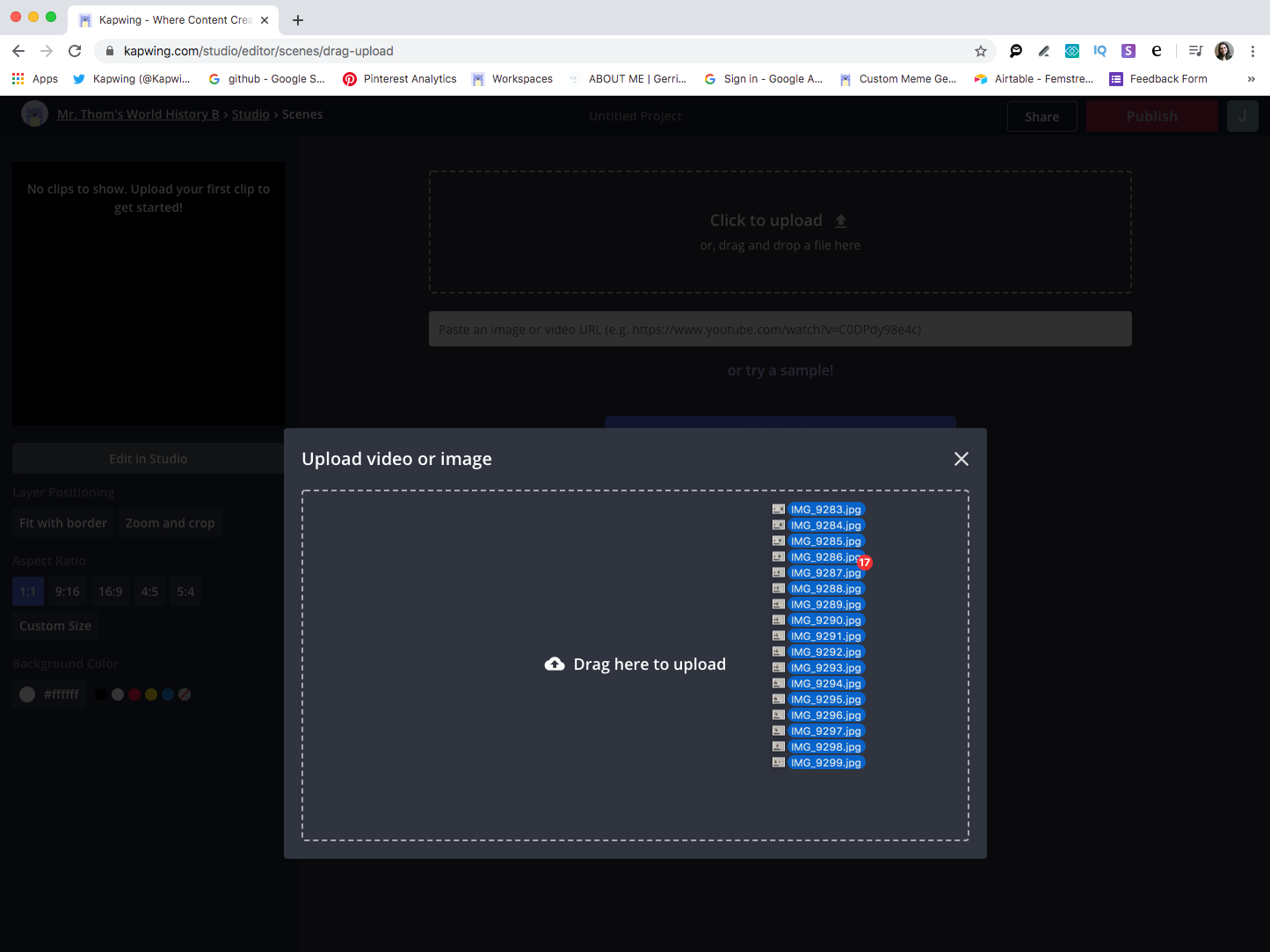 A screenshot showing how to upload multiple images into the Kapwing Studio at once.