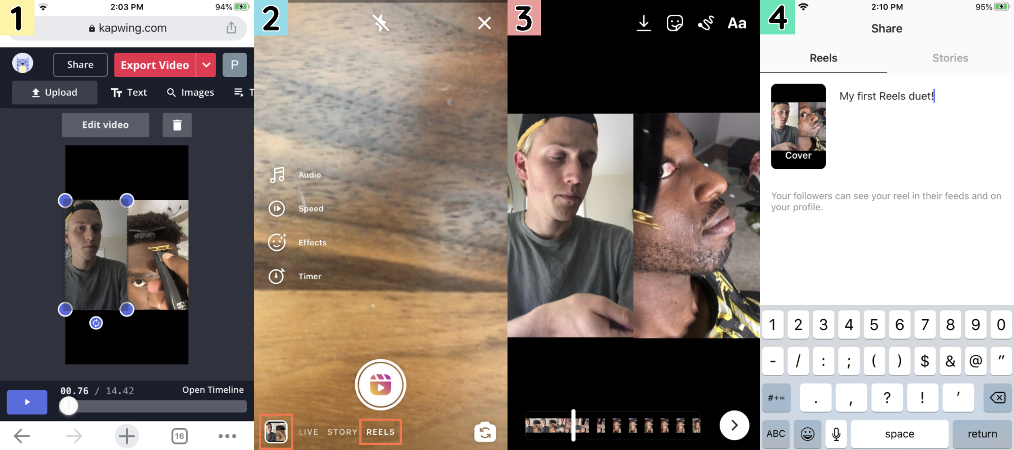Screenshots showing how to share Kapwing videos on IG Reels.