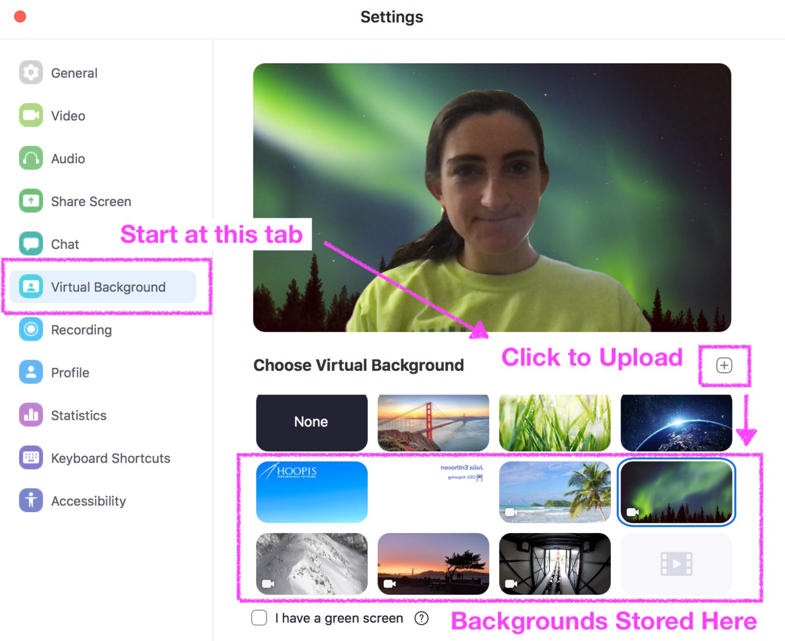 A screenshot showing how to add a virtual background to Zoom.