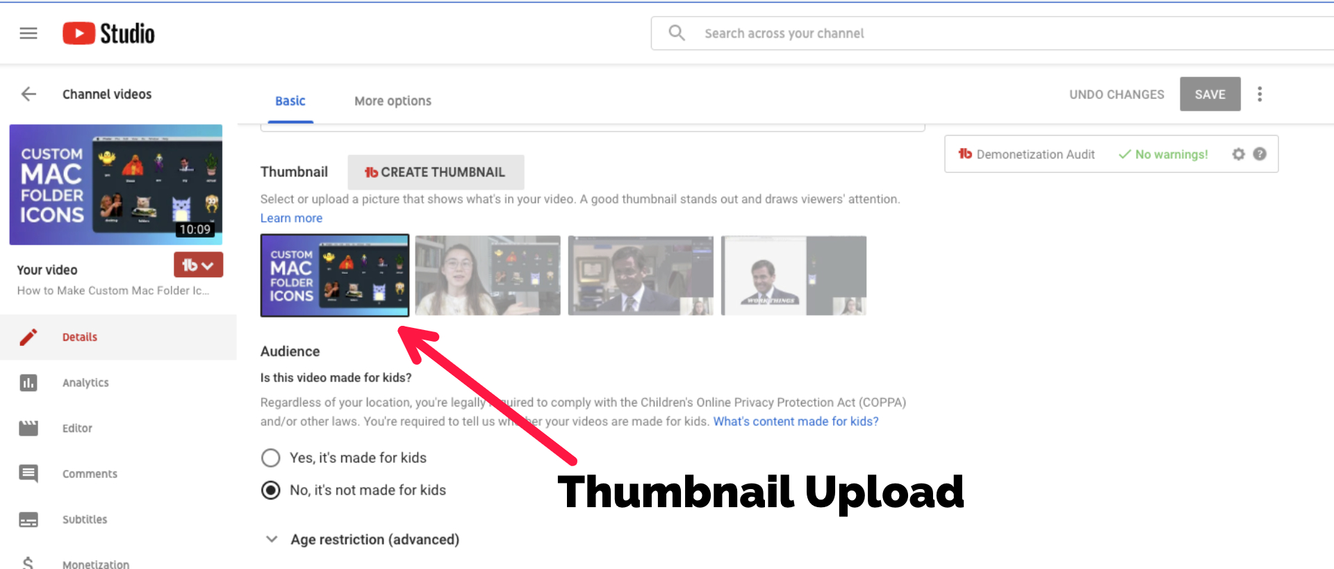 A screenshot of the thumbnail upload screen in YouTube.
