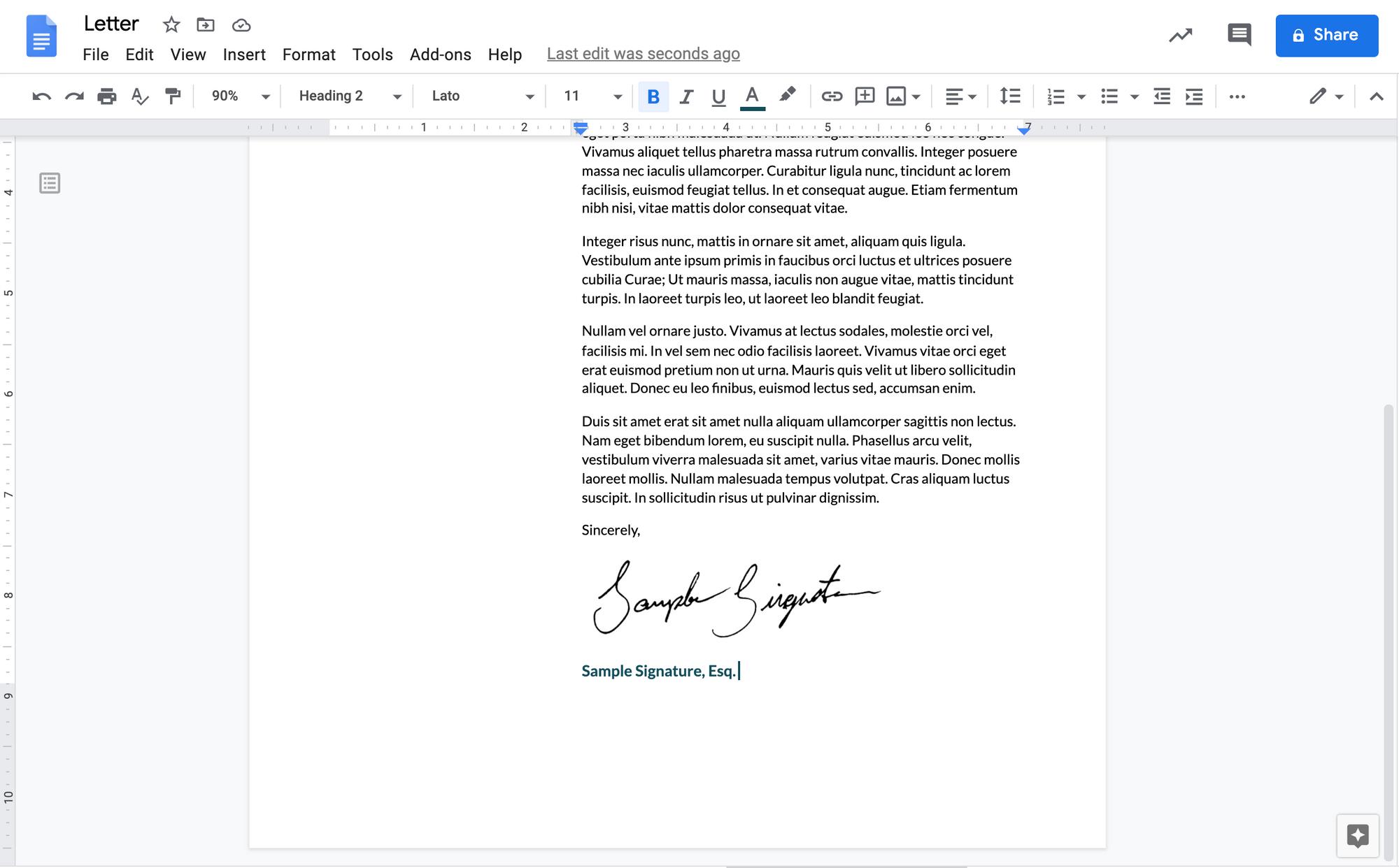 A screenshot of a transparent signature added to a Google Doc.