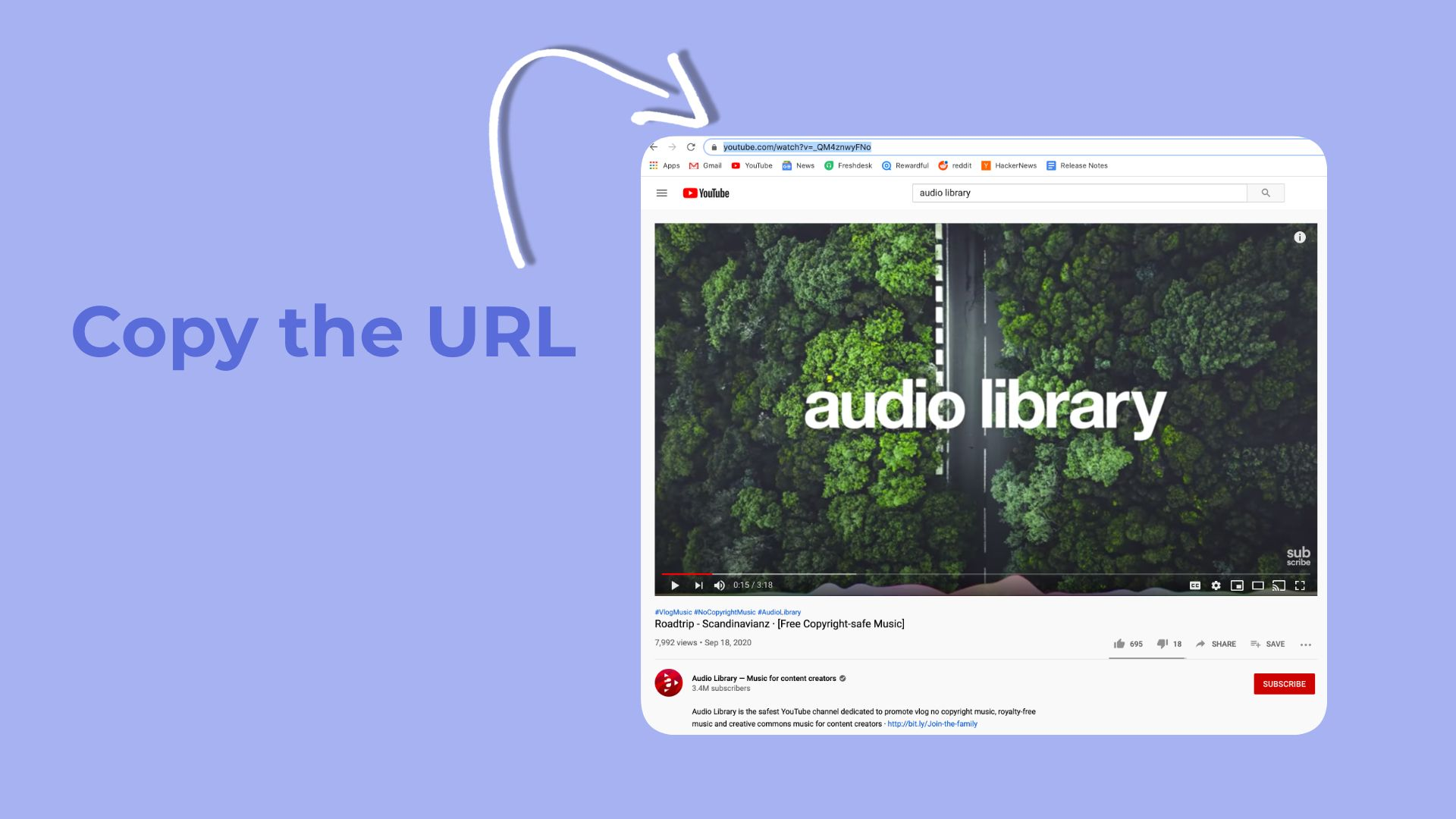 A graphic showing how to copy the URL from a YouTube video.