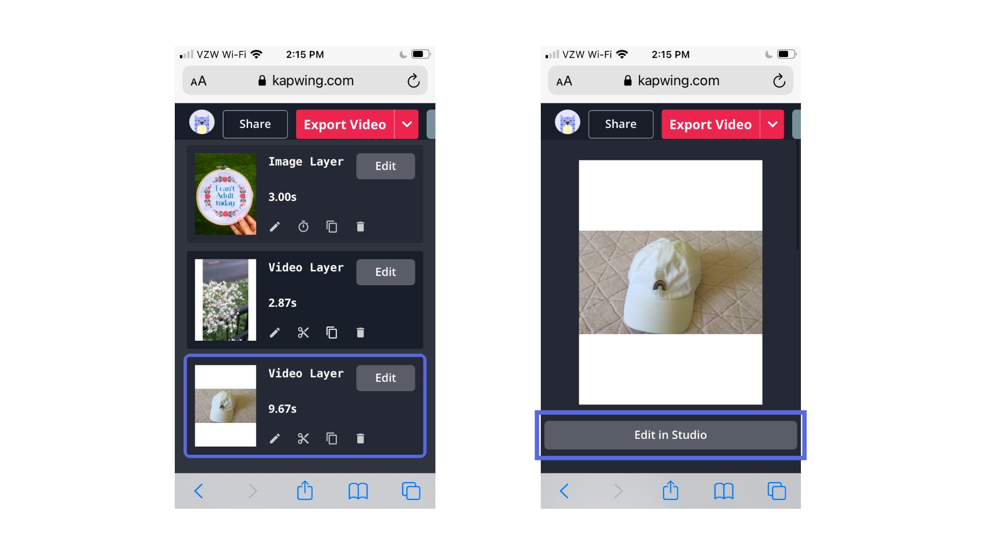 Screenshots from the Kapwing mobile Studio, showing how to make basic edits.