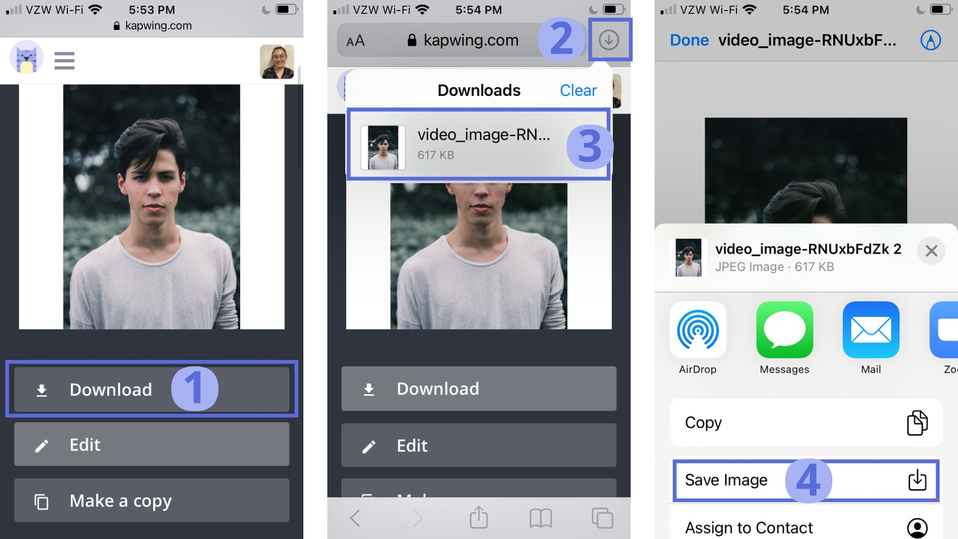 Screenshots from Kapwing, demonstrating how to download and save a photo to a mobile device.