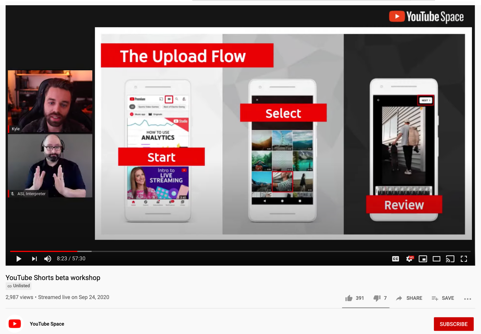 A screenshot of YouTube's own testing video for YouTube shorts.