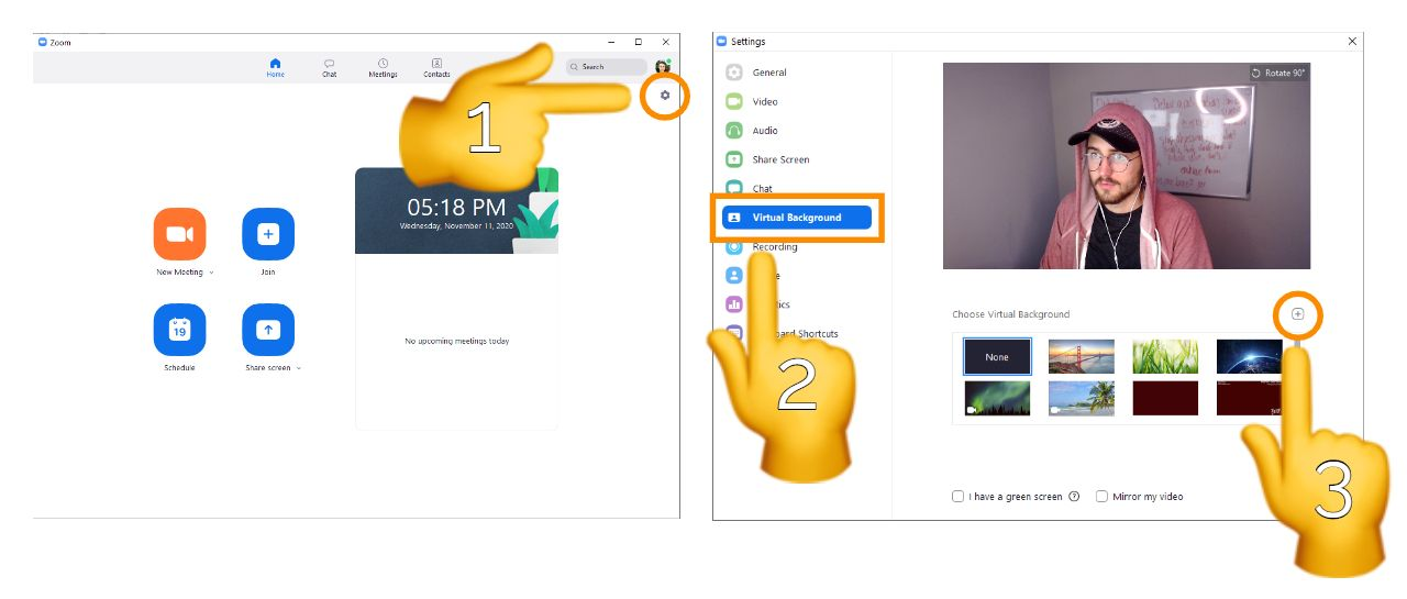 Screenshots showing how to update a virtual background in Zoom.