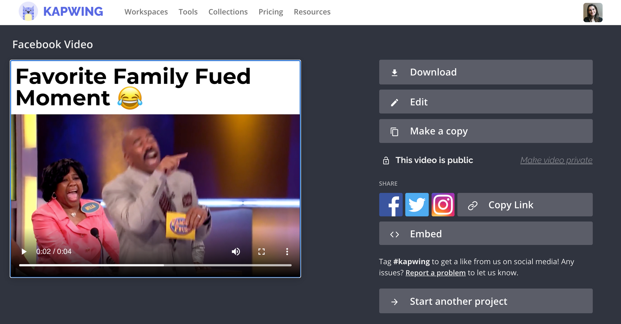final download page to share facebook video