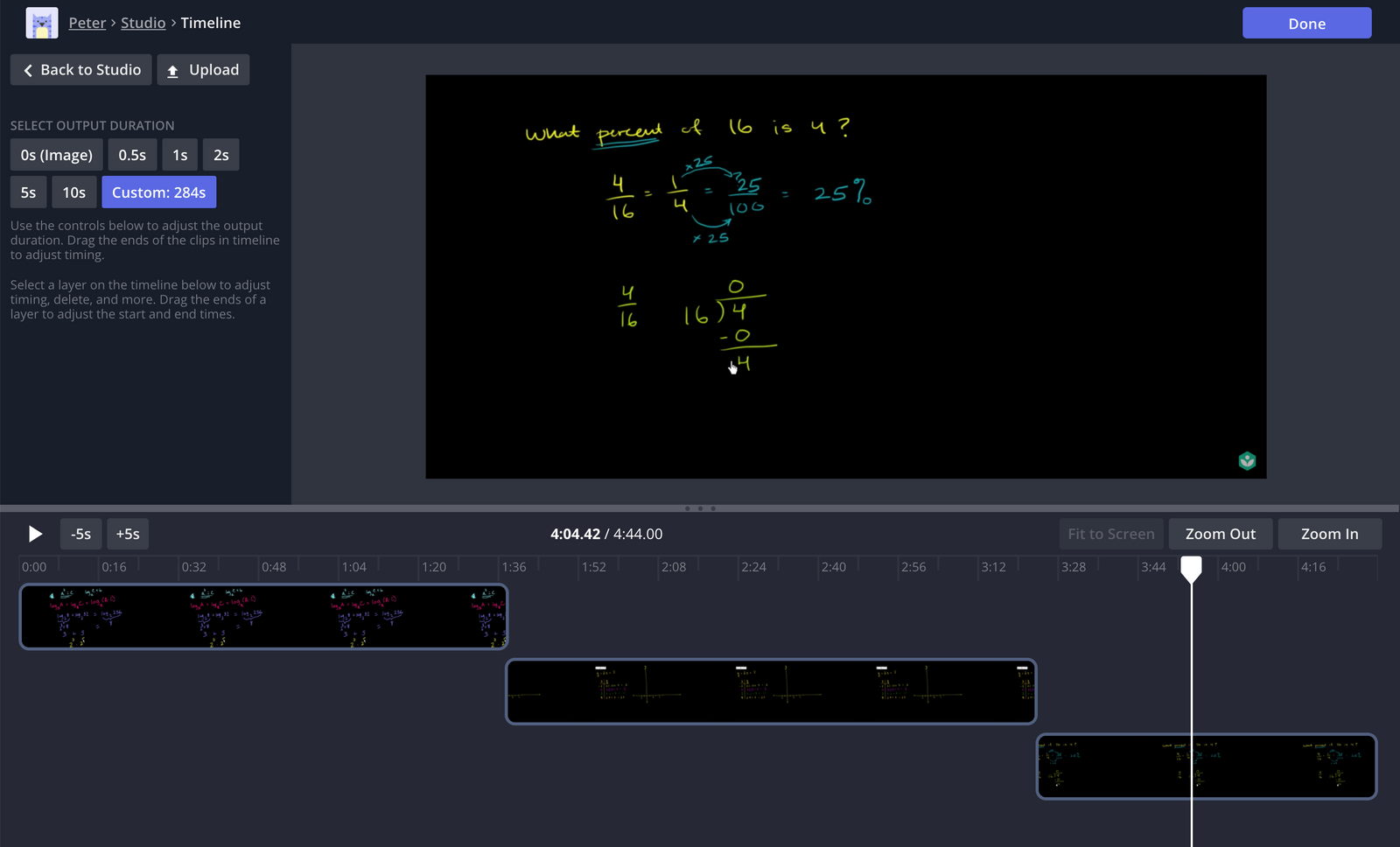 A screenshot from the Kapwing Timeline editor.