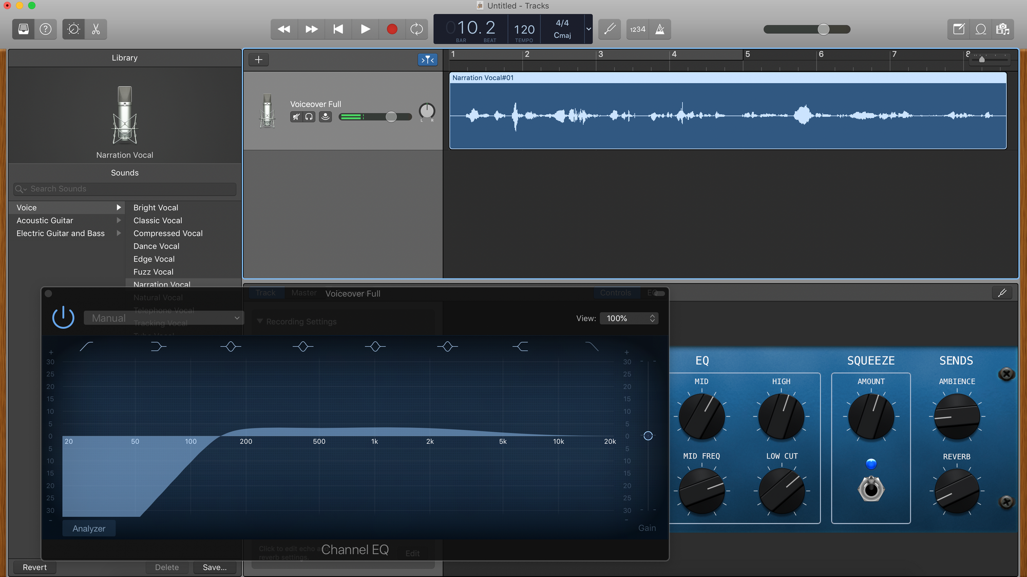 A screenshot of a narration track in GarageBand.
