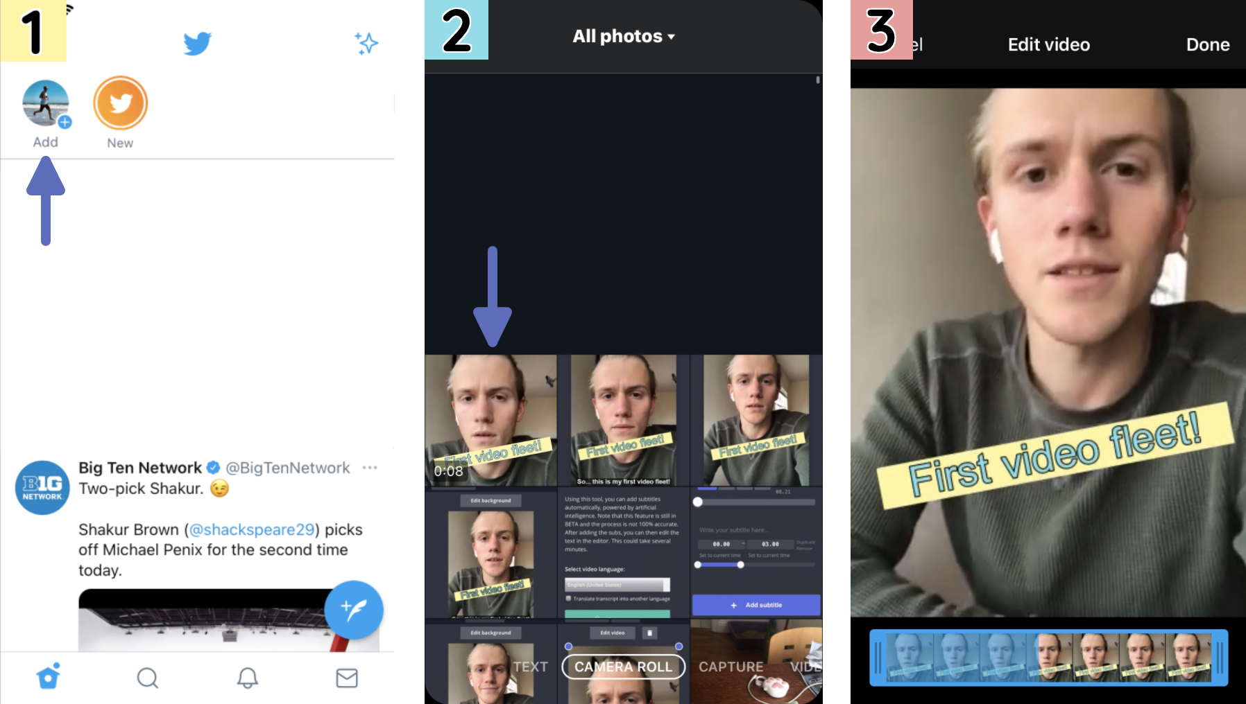Screenshots demonstrating how to add a video Fleet from your Camera Roll.