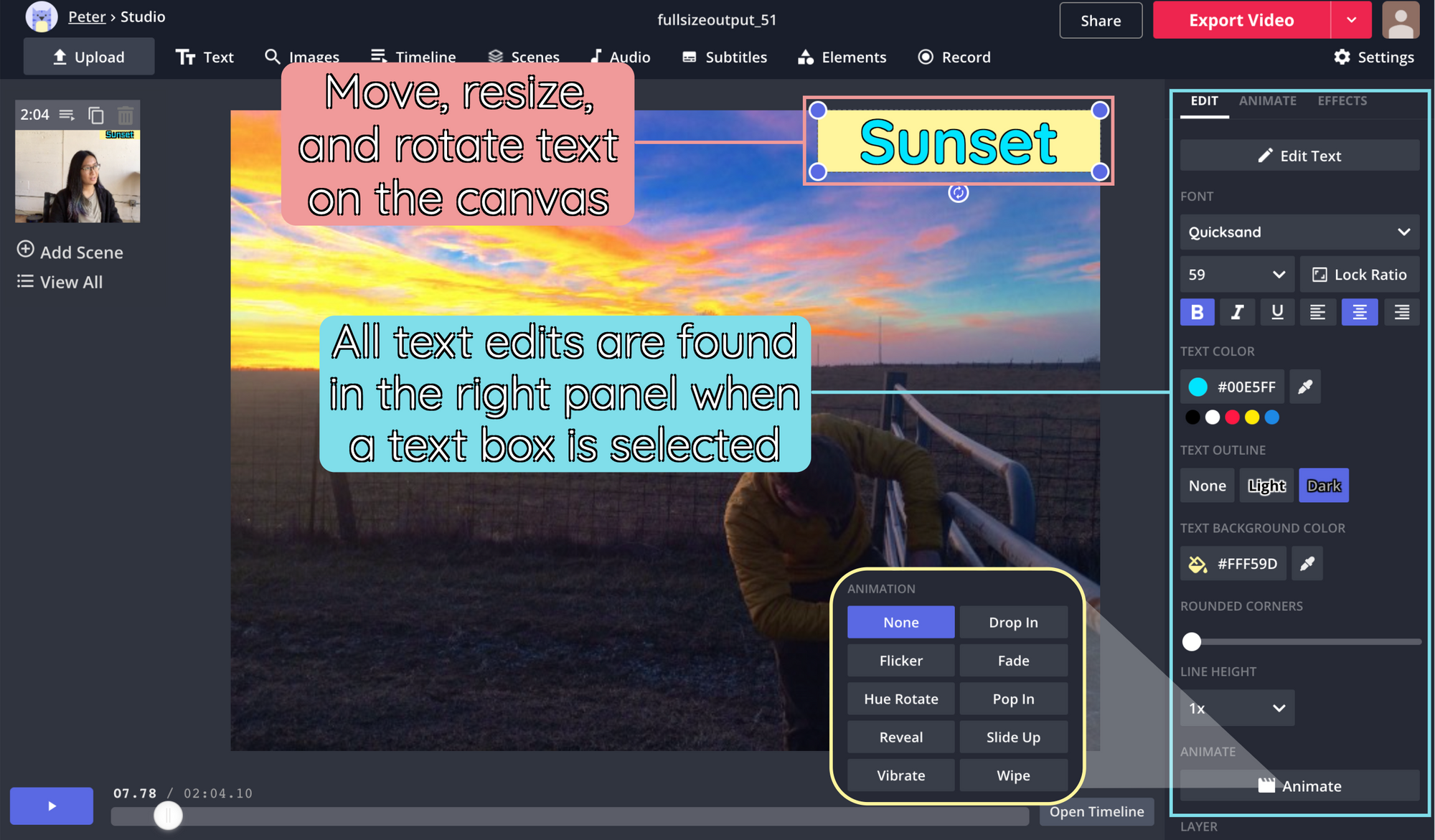 A screenshot showing layer editing options in the Kapwing Studio.