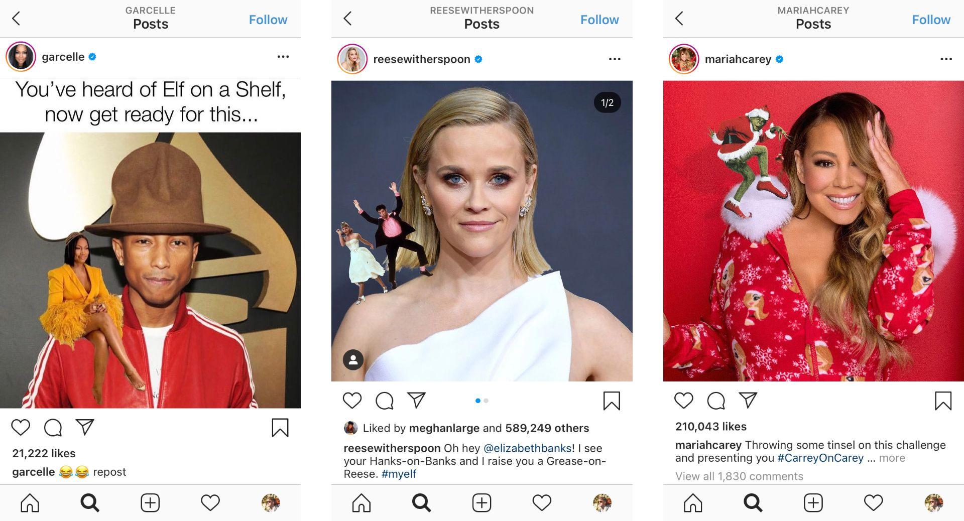 Screenshots of Instagram posts from Garcelle Beauvais, Reese Witherspoon, and Mariah Carey.