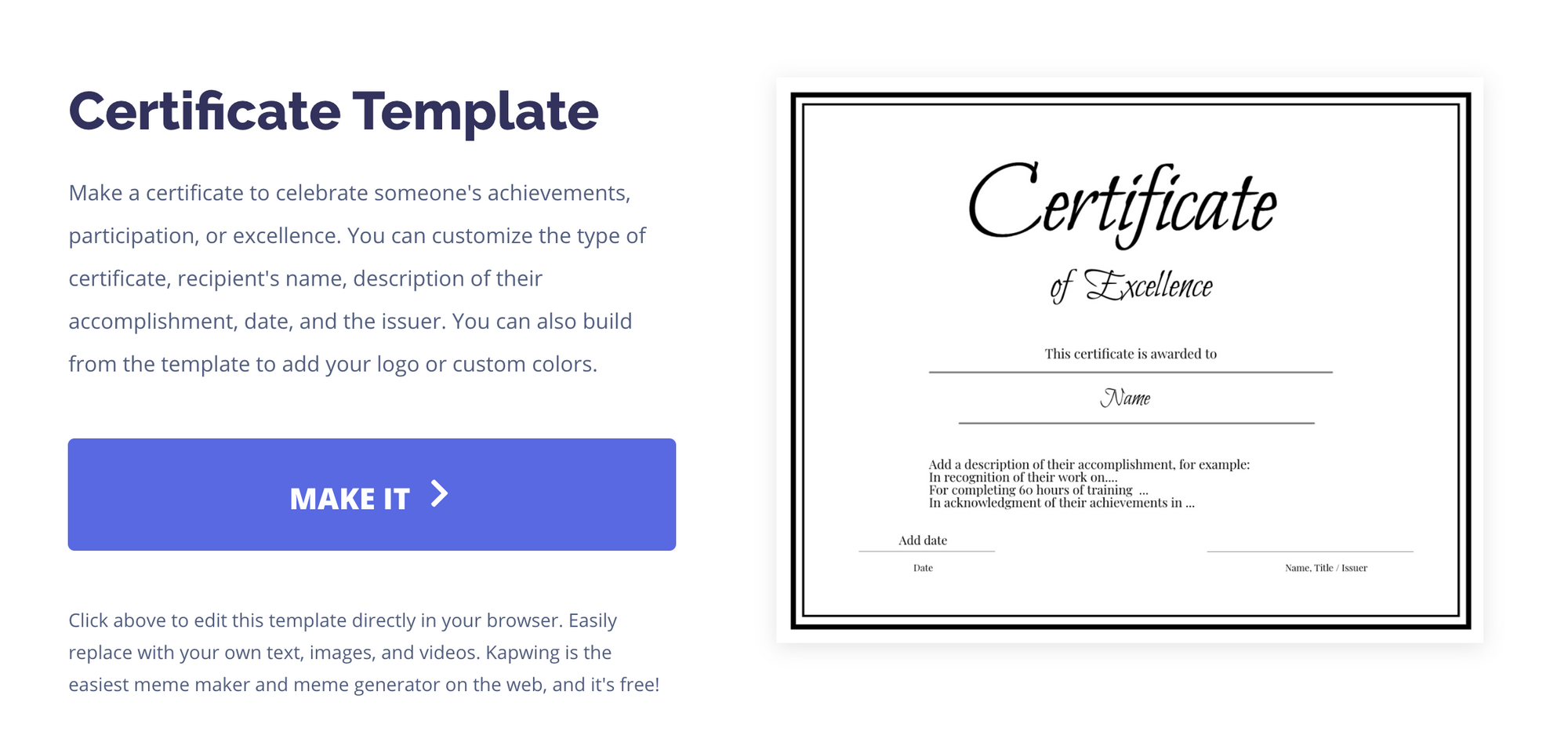 Certificate template landing page