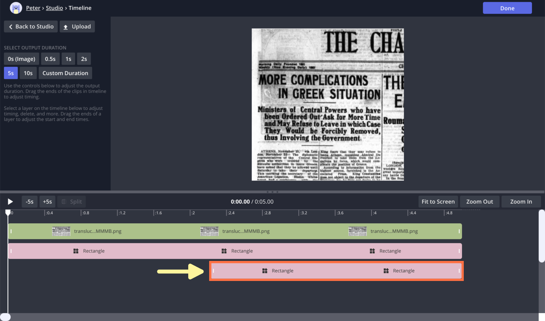 A screenshot from the Kapwing Studio Timeline view.