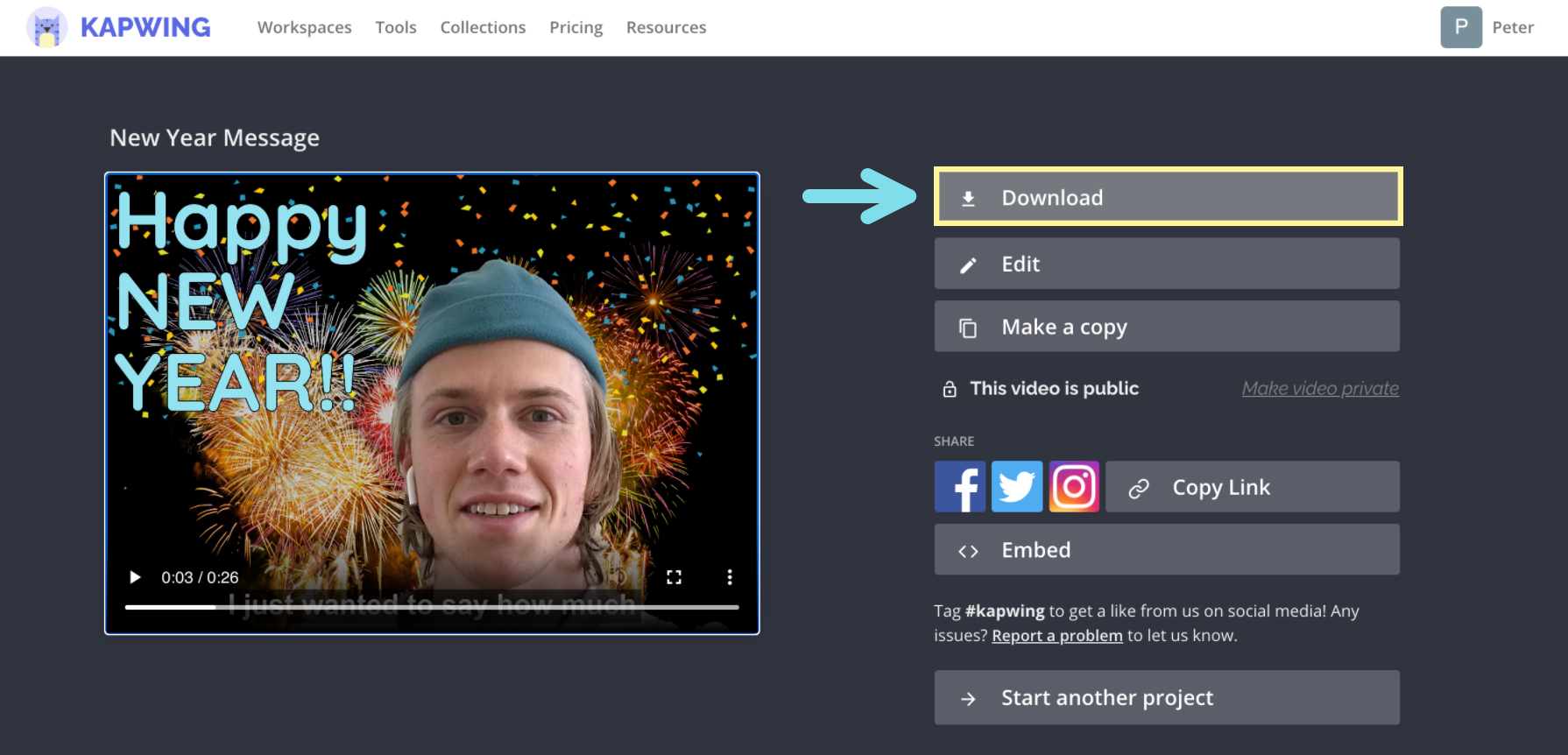 A screenshot demonstrating how to download a video from the final video page in Kapwing.