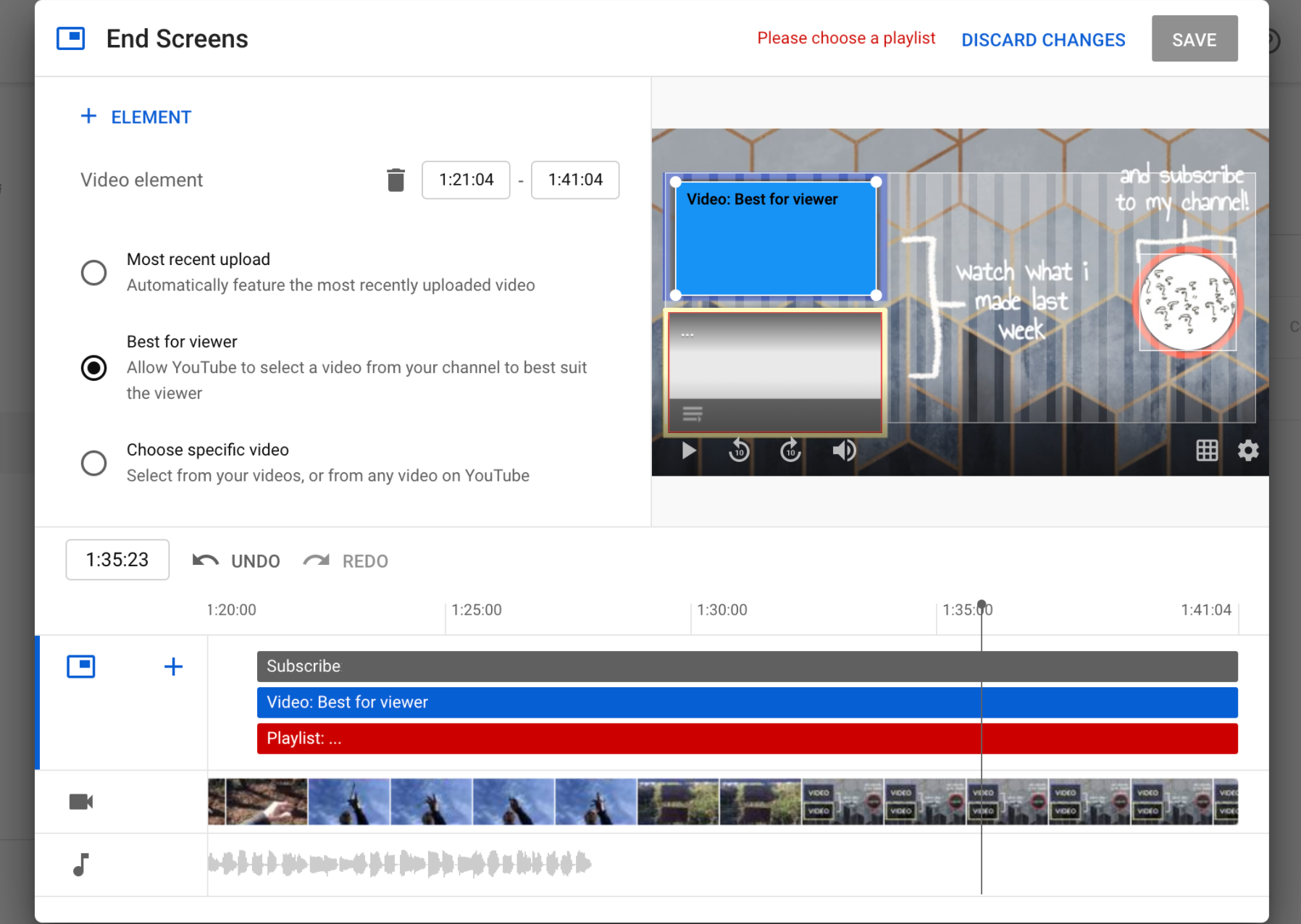 A screenshot from YouTube, showing the process of adding custom end screens to your videos.