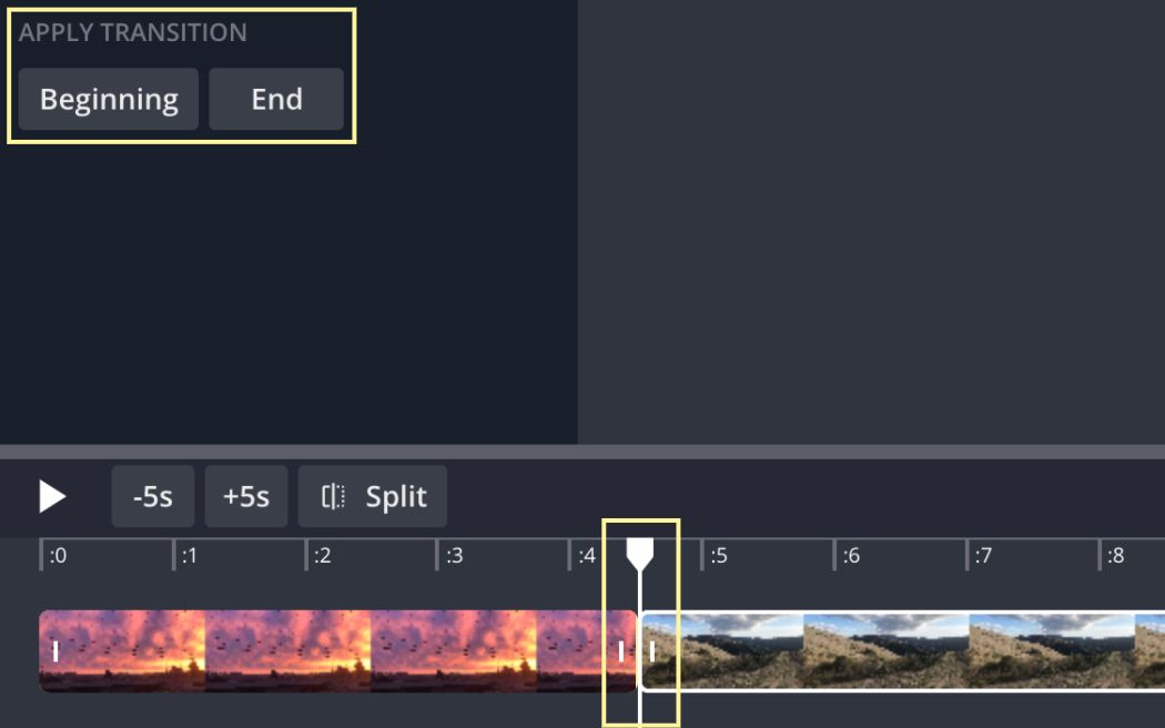 A screenshot from the Kapwing Studio, showing how to align videos and add transitions.