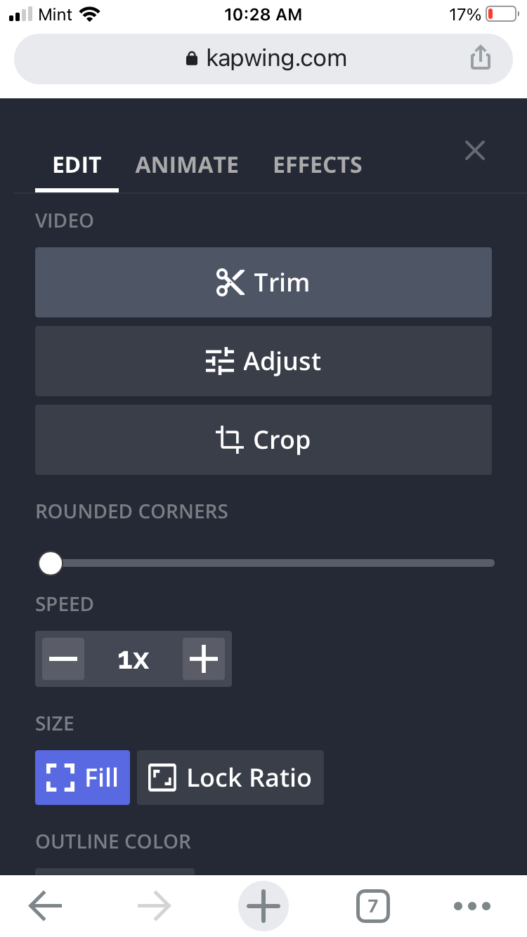 A screenshot of the video editing options in the mobile Kapwing Studio.