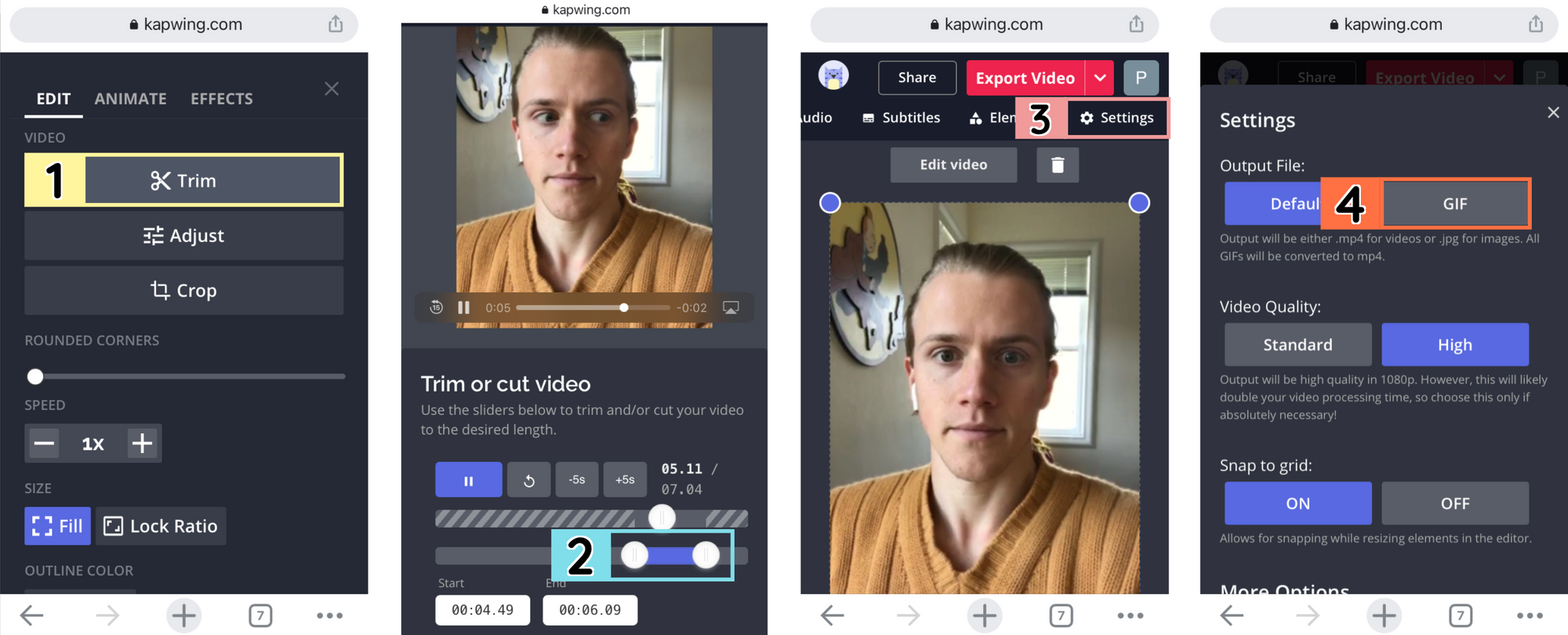 Screenshots from the mobile Kapwing Studio, demonstrating how to trim a video and export it as a GIF.