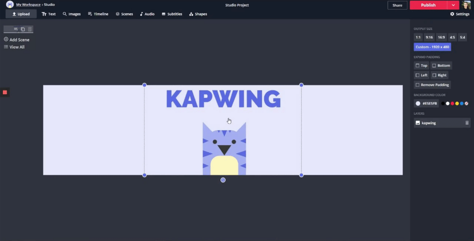 A screenshot showing how to create a background design in Kapwing.