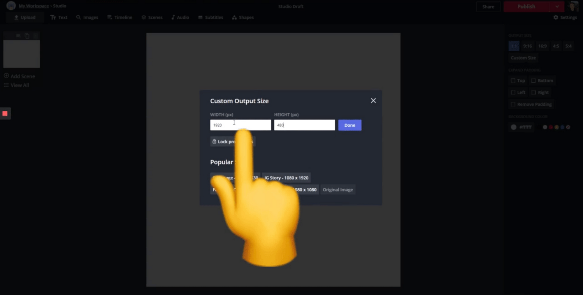 A screenshot from the Kapwing Studio, showing how to resize content.