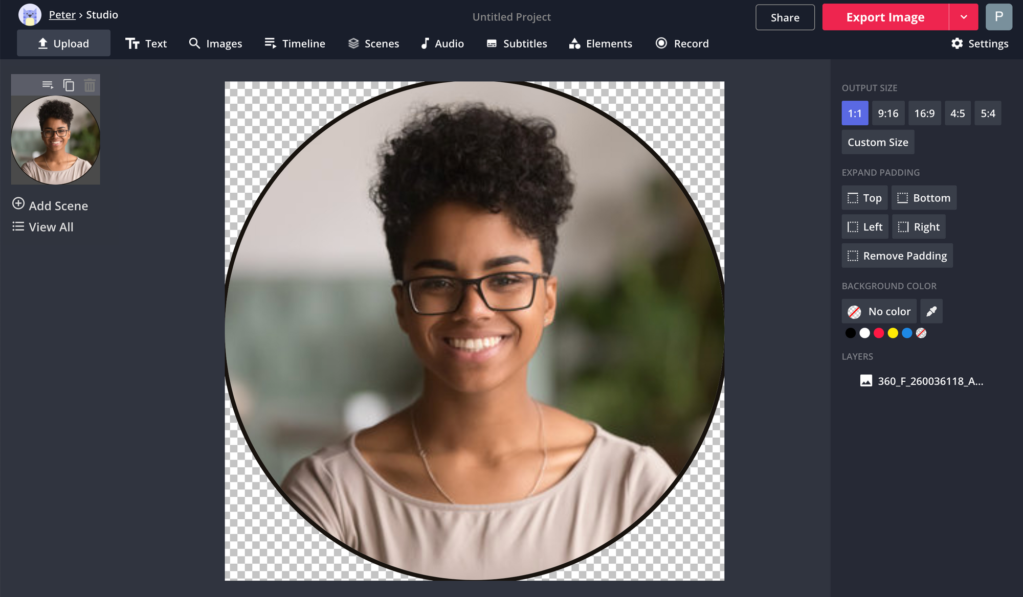 A screenshot of a bio photo being edited in the Kapwing Studio.