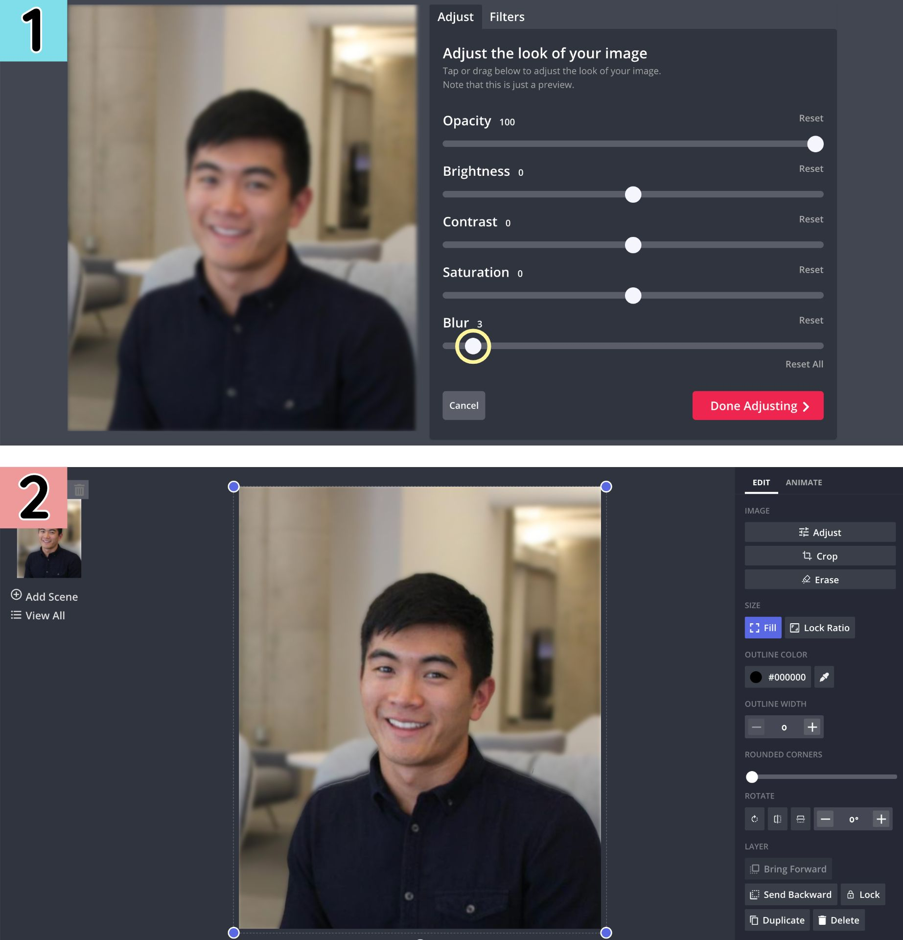 Screenshots from the Kapwing Studio demonstrating how to blur the background of an image.