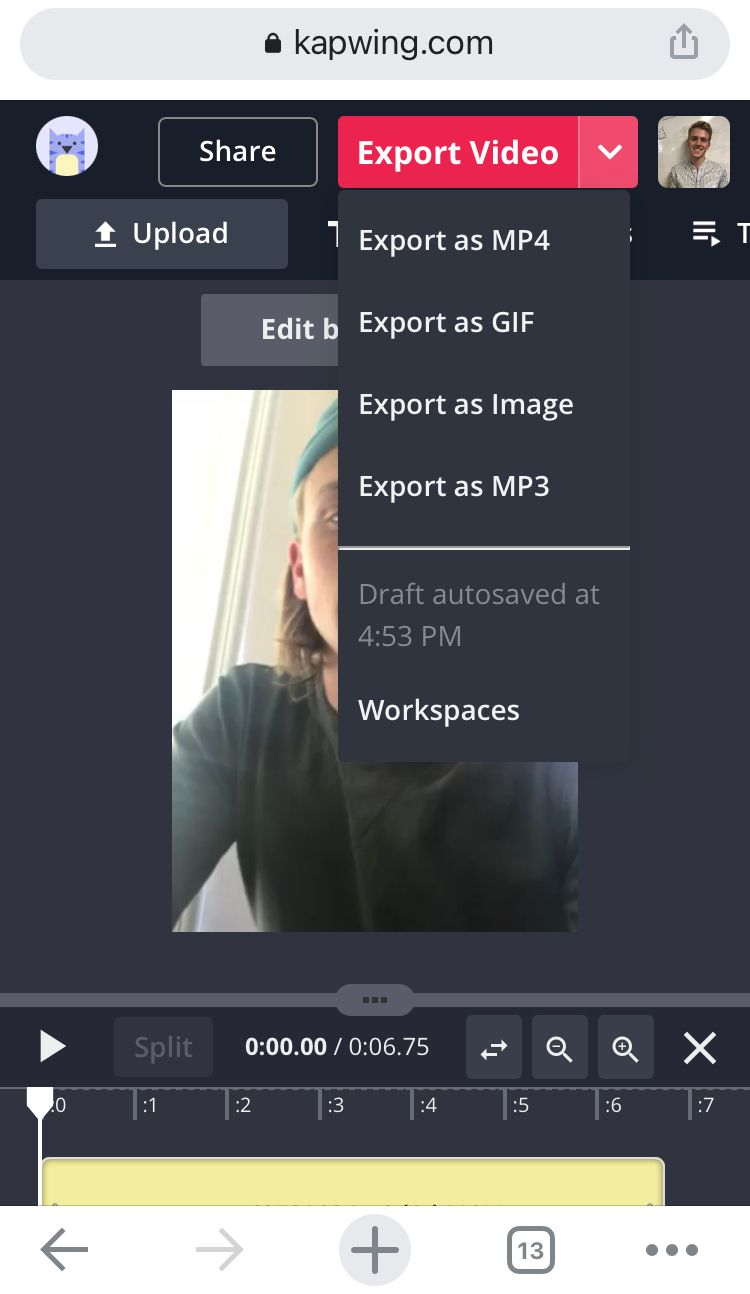 A screenshot showing how to export GIFs from the Kapwing Studio on a mobile device.