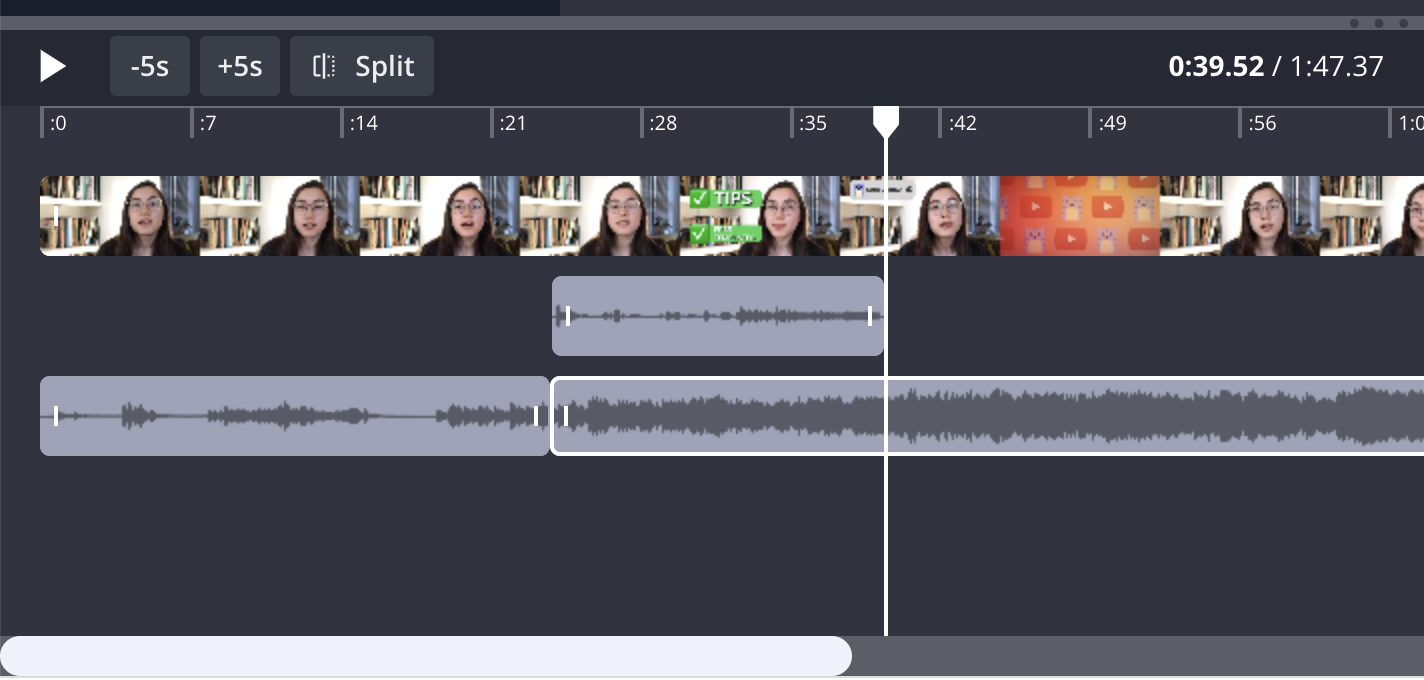 A screenshot showing how to edit audio layers in the Kapwing timeline editor.