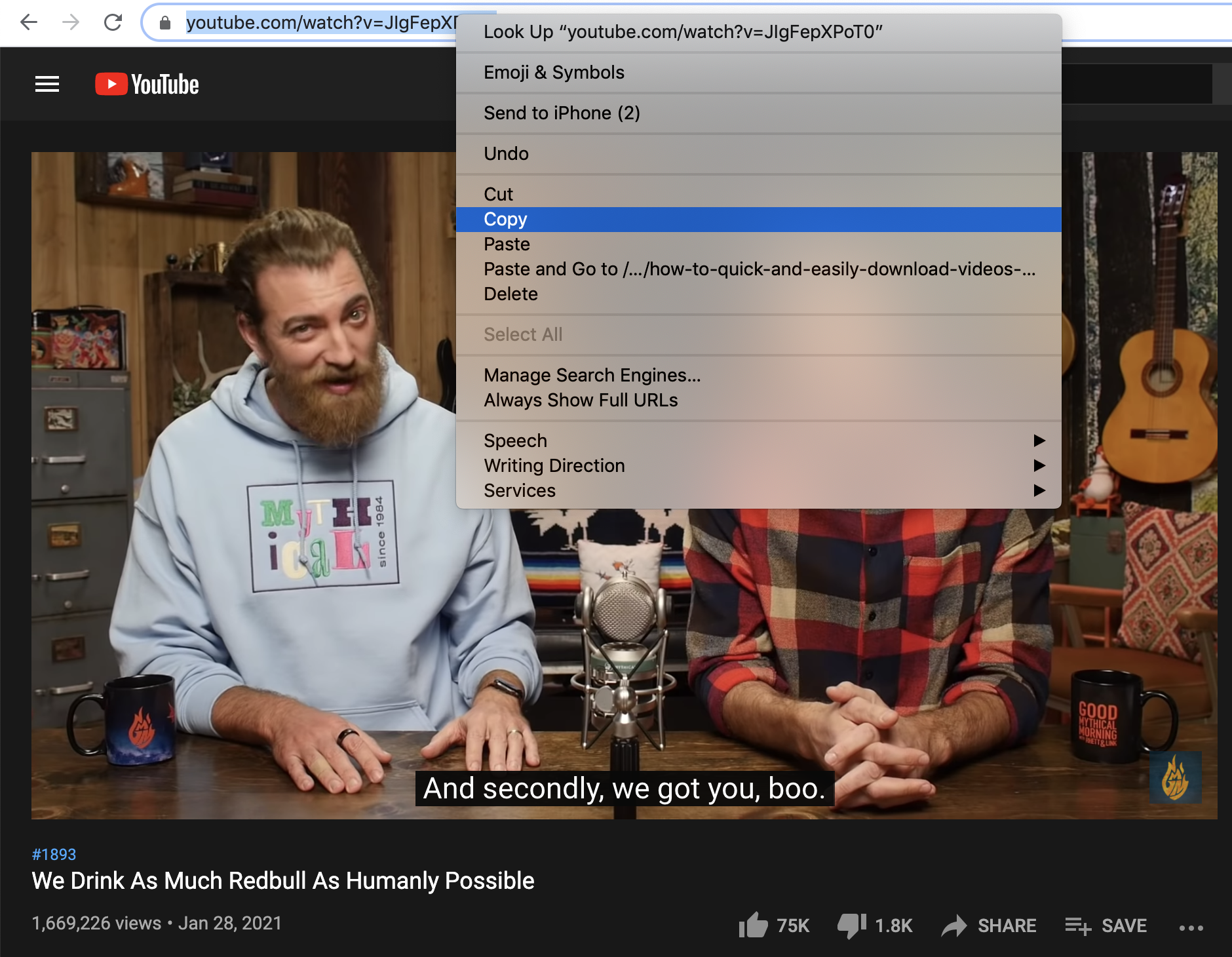 A screenshot showing how to copy links from YouTube.
