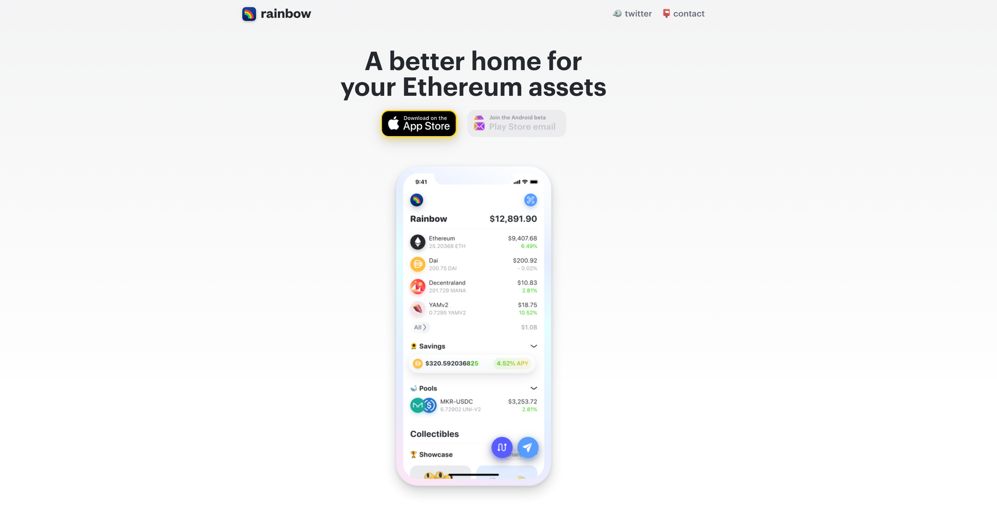 A marketing image for the Rainbow Ethereum wallet for iOS and Android