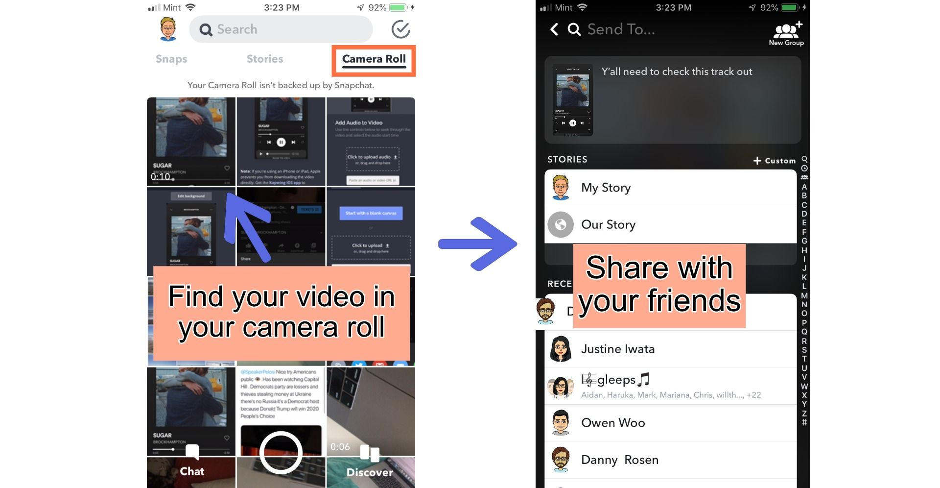 Screenshots showing how to share videos on Snapchat.