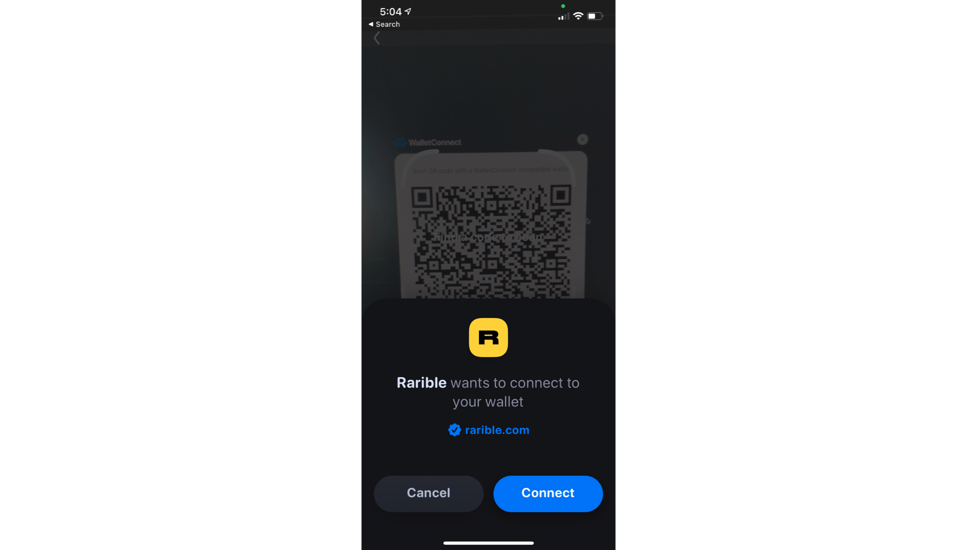 The screen that connects rarible to an Ethereum wallet