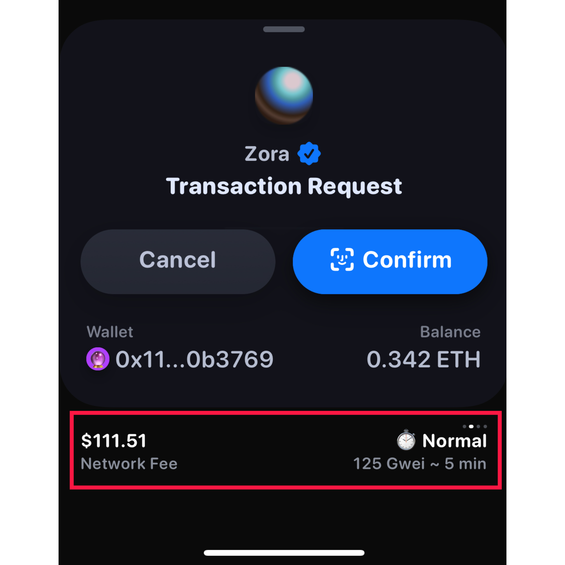 A $111 gas fee is displayed in the Rainbow Ethereum Wallet