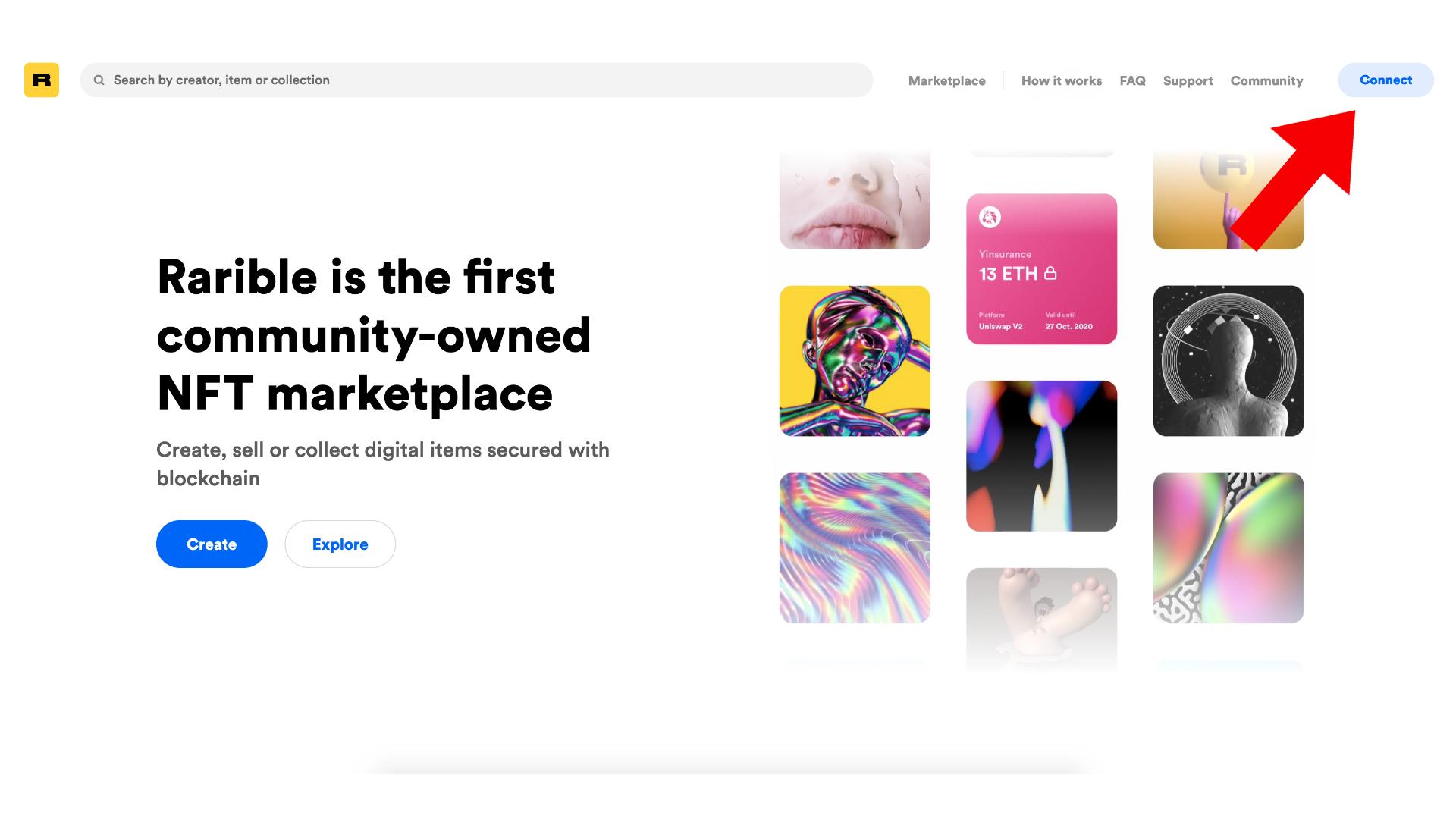 The Rarible website homepage