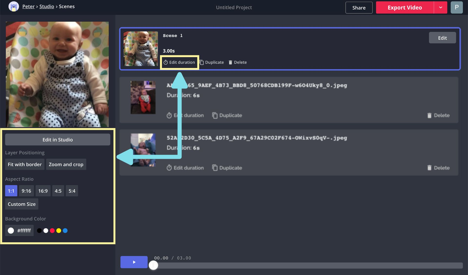 A screenshot showing how to edit the details of a montage video in Kapwing.