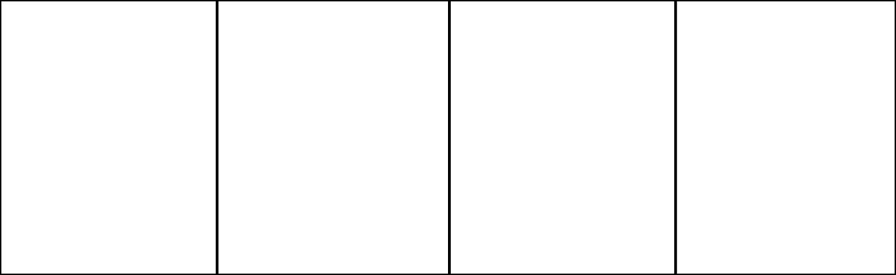 A four-panel comic strip template in a 13:4 aspect ratio.