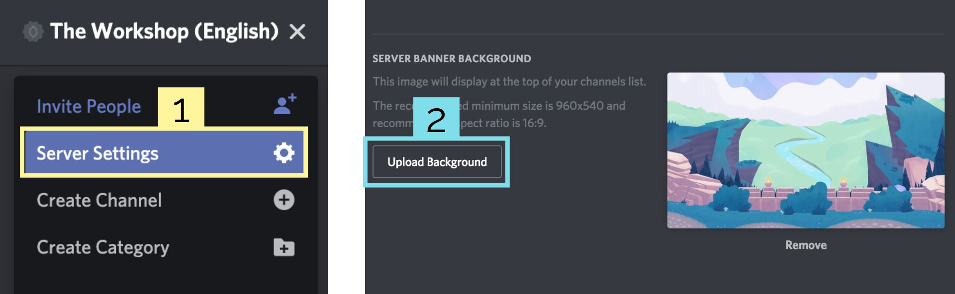 Screenshots showing how to upload a server background banner image in Discord.
