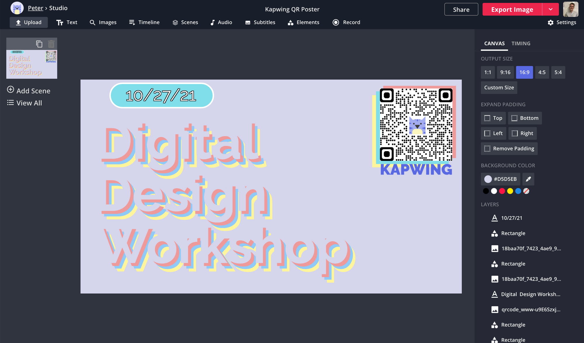 A screenshot of a QR code being customized and attached to a poster in the Kapwing Studio.