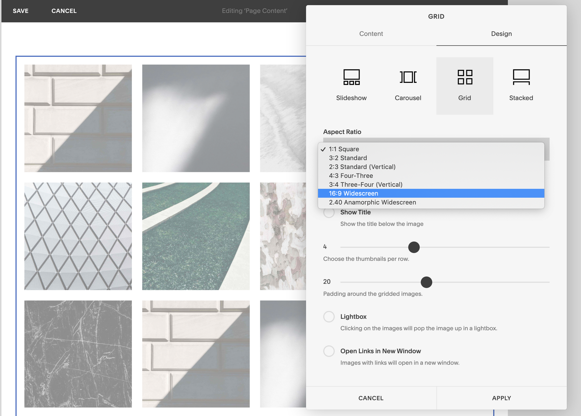 A screenshot showing the aspect ratio options in Squarespace's Grid block.