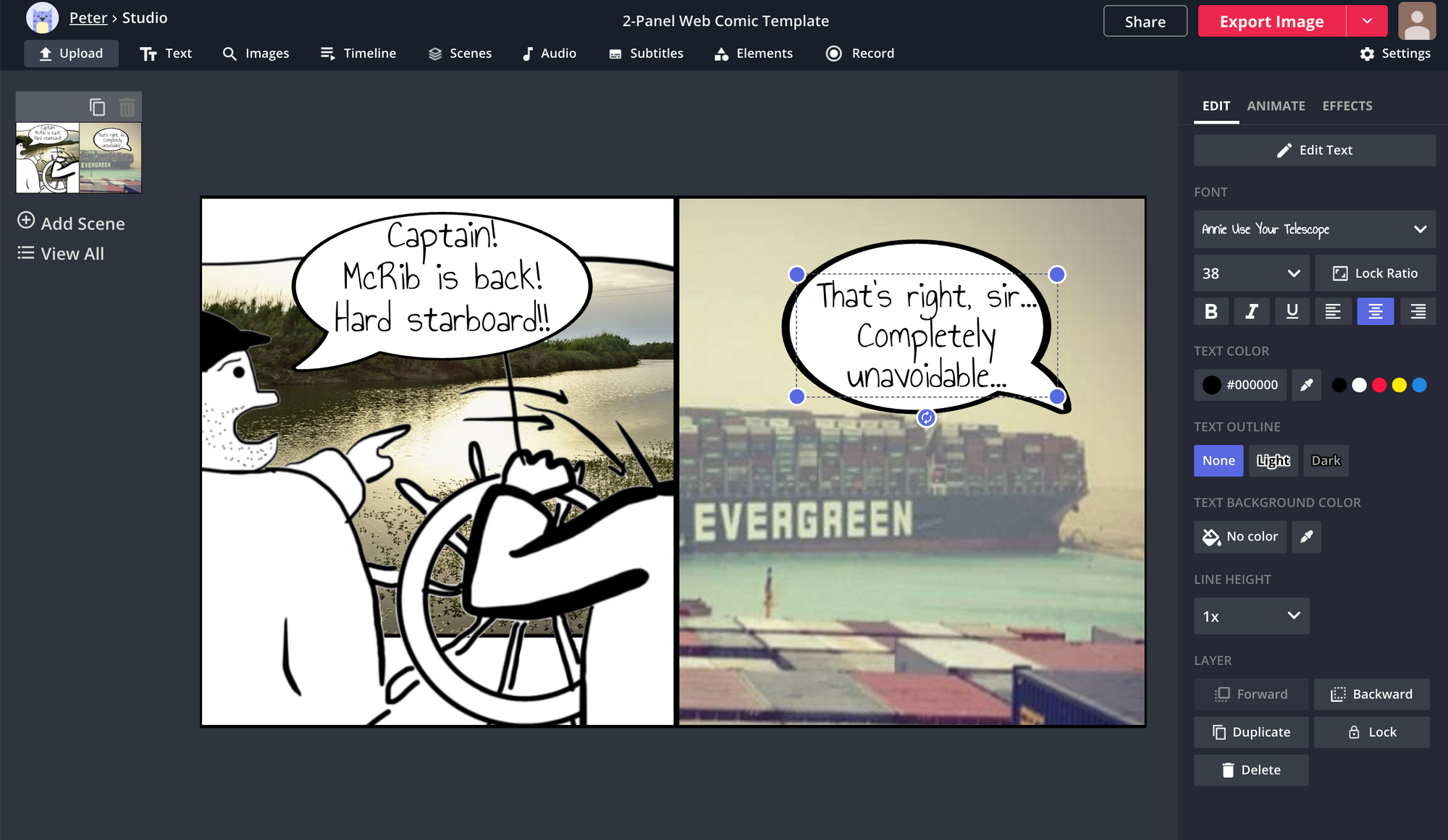 A screenshot showing how to add and edit text to a comic strip in the Kapwing Studio.